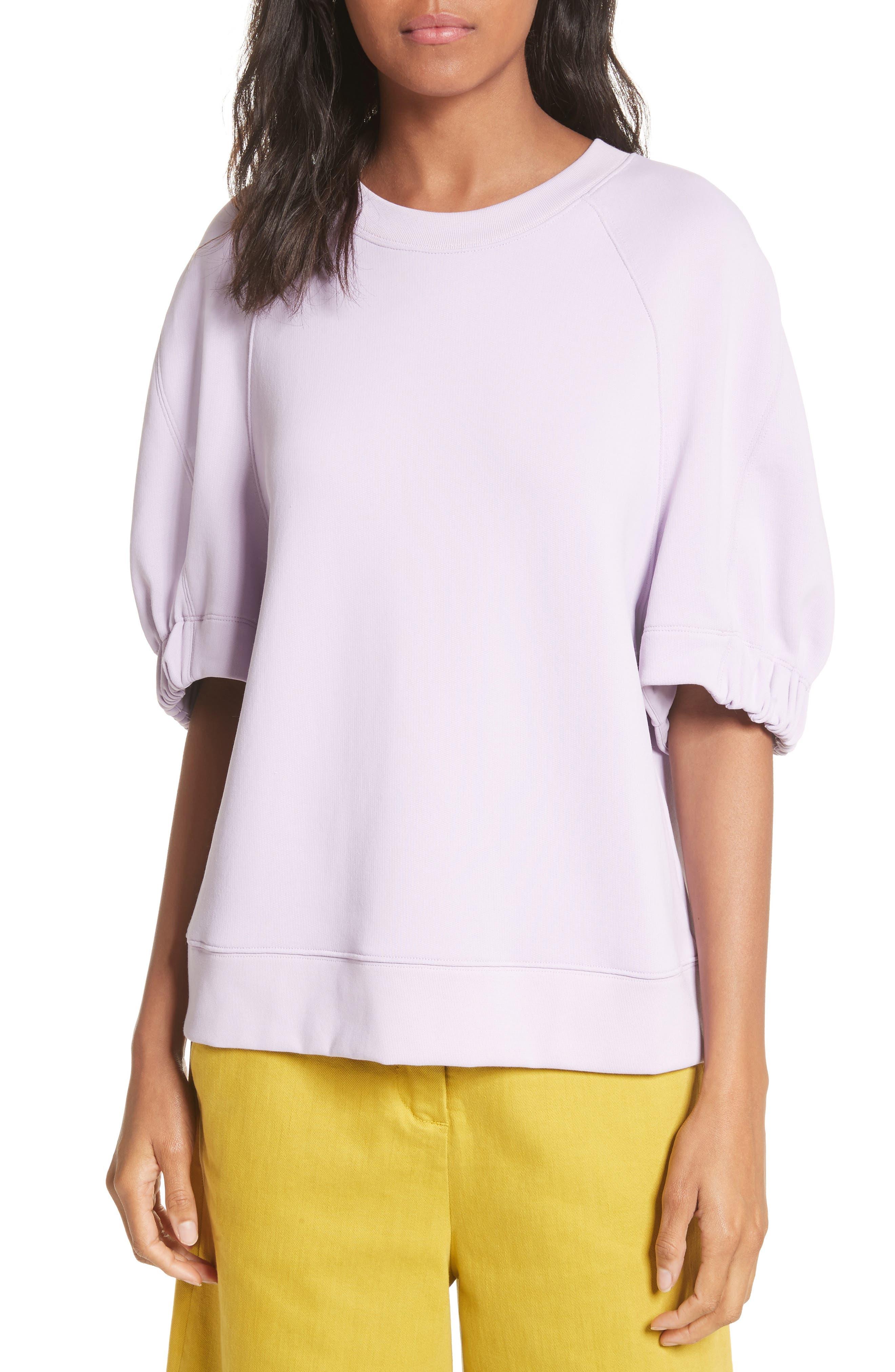 Short Sleeve Sweatshirt,                         Main,                         color, Lavender
