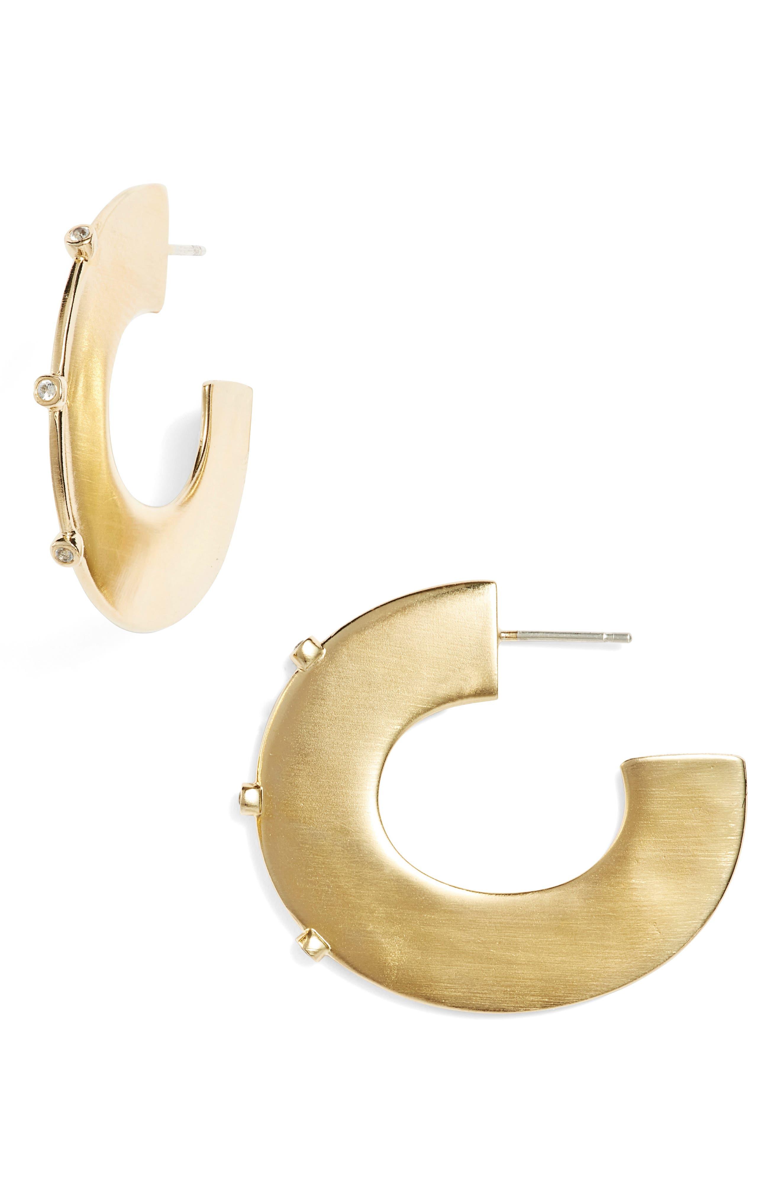 Sullivan - Joni White Topaz Hoop Earrings,                         Main,                         color, Yellow Gold