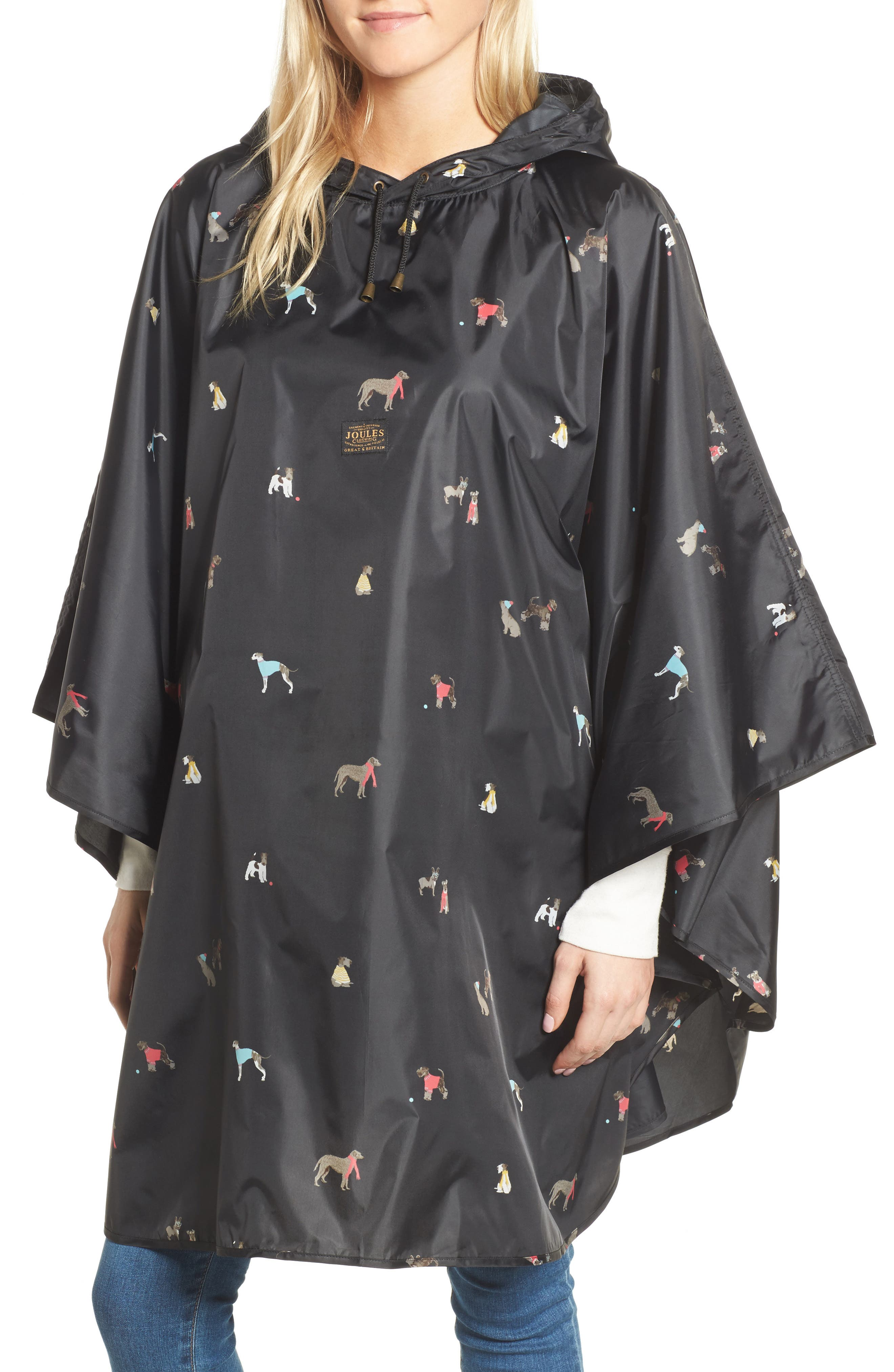 Main Image - Joules Right as Rain Print Packable Hooded Poncho