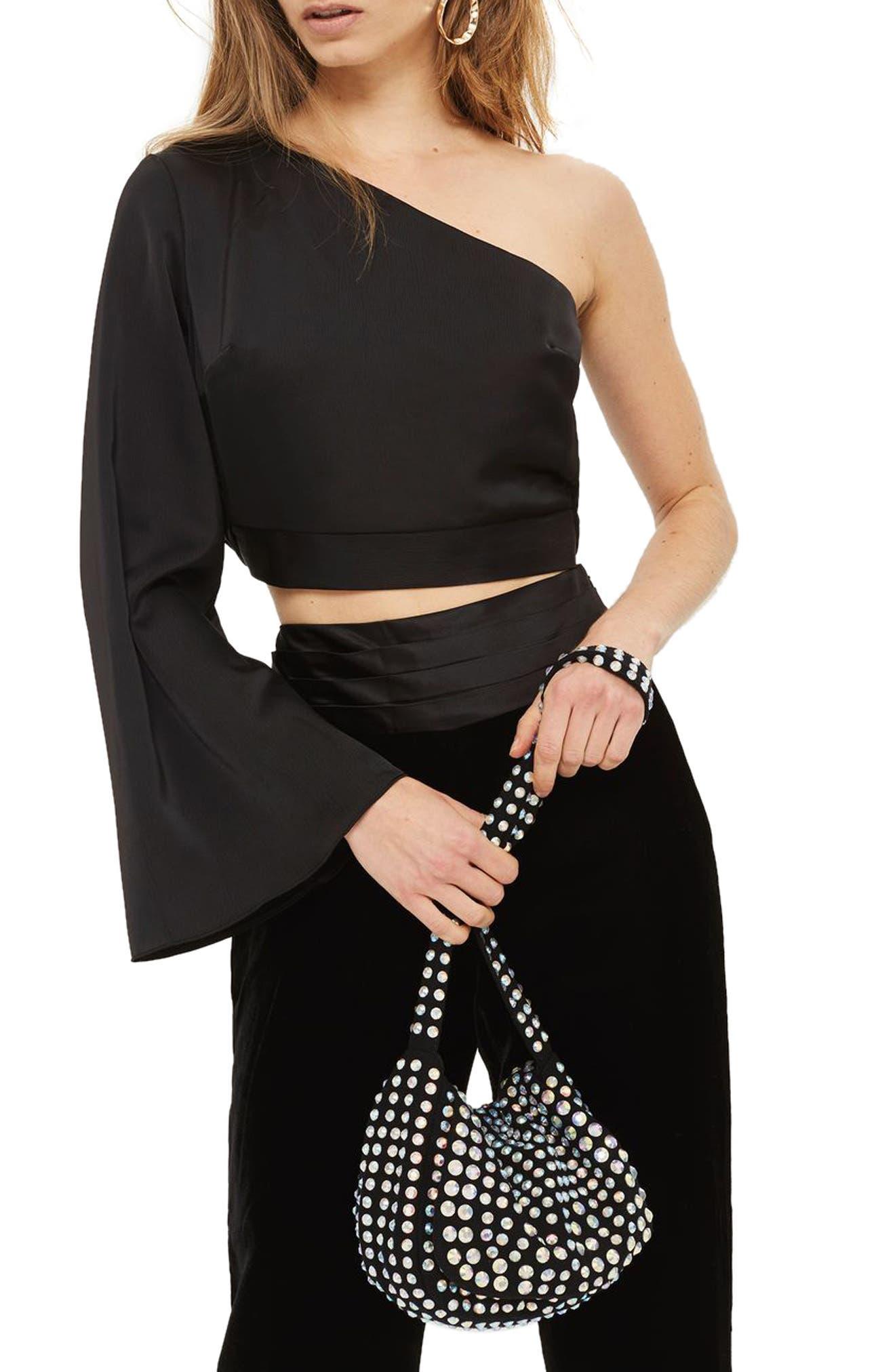Satin One-Shoulder Blouse,                         Main,                         color, Black