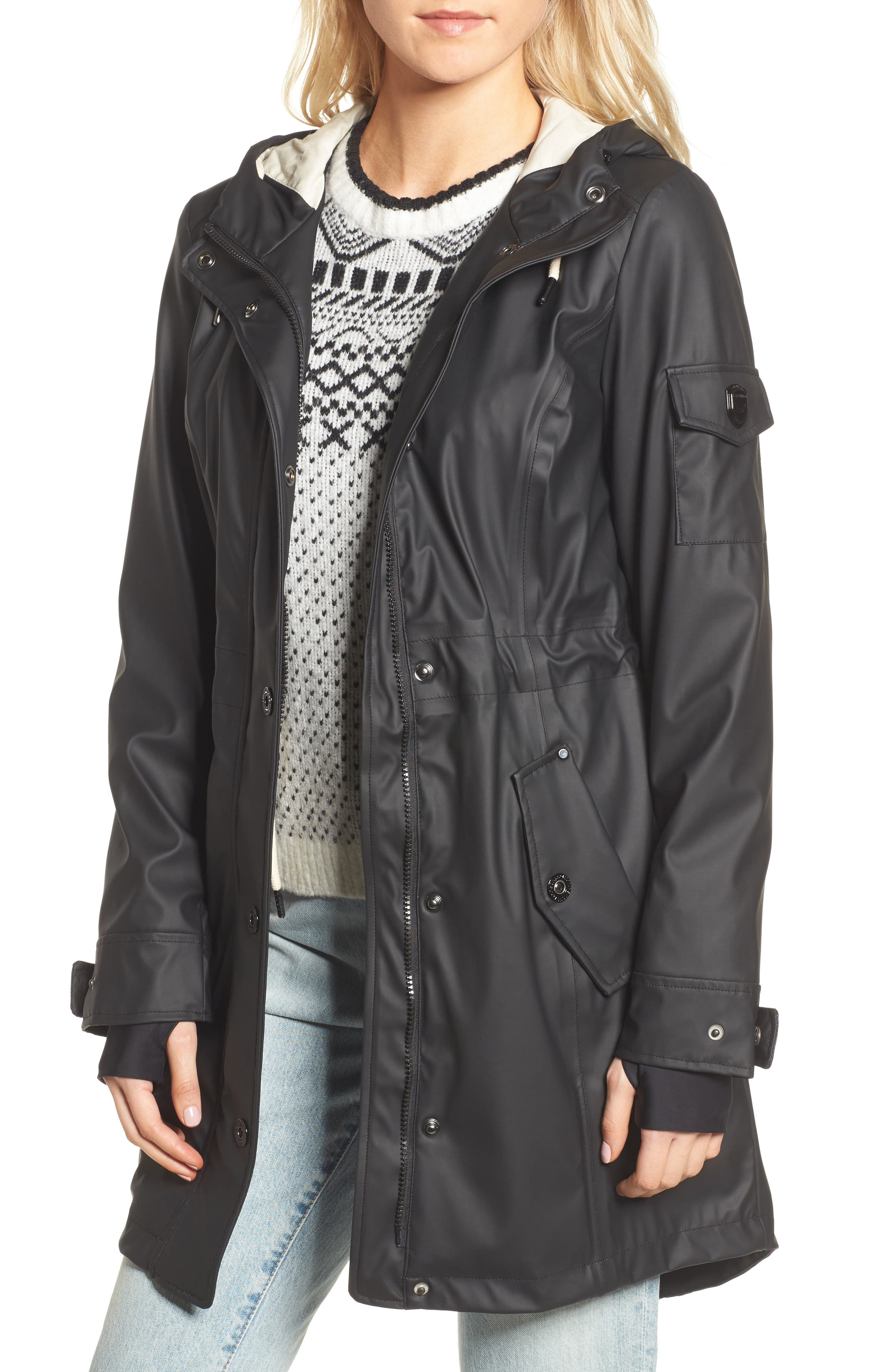 Contrast Cuff Fishtail Anorak,                             Main thumbnail 1, color,                             Black