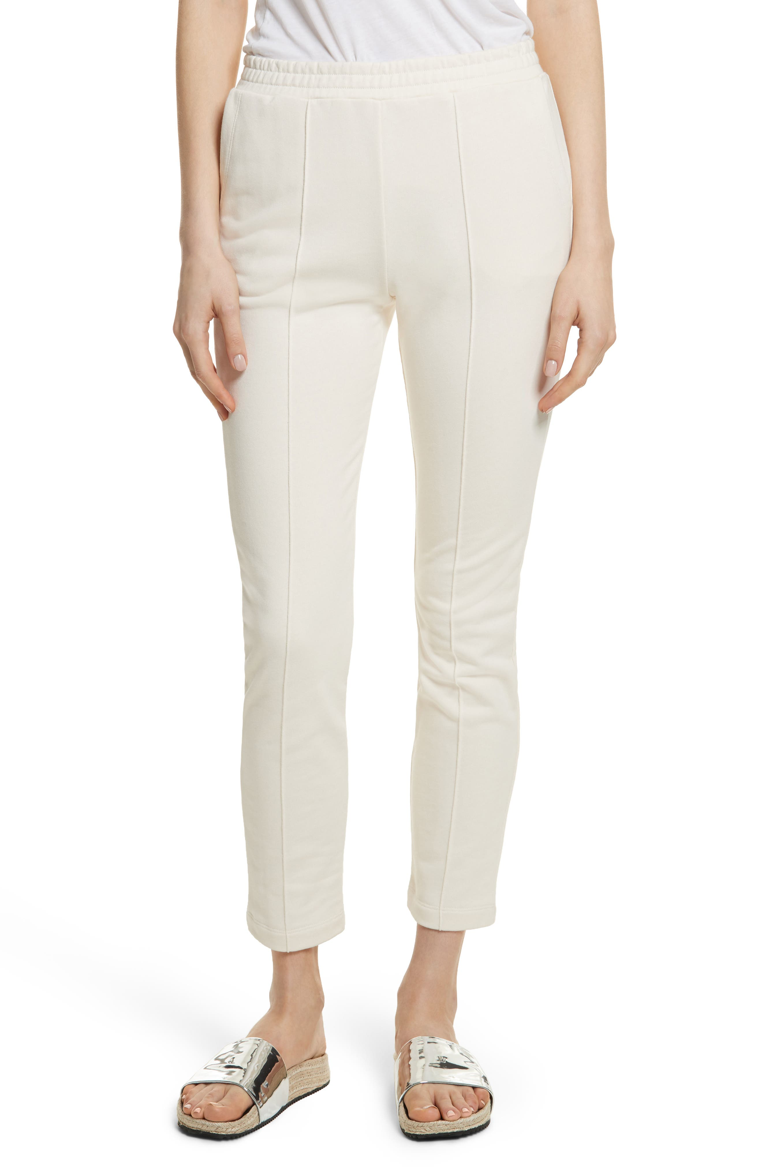 French Terry Pintuck Pleat Pants,                         Main,                         color, Ivory