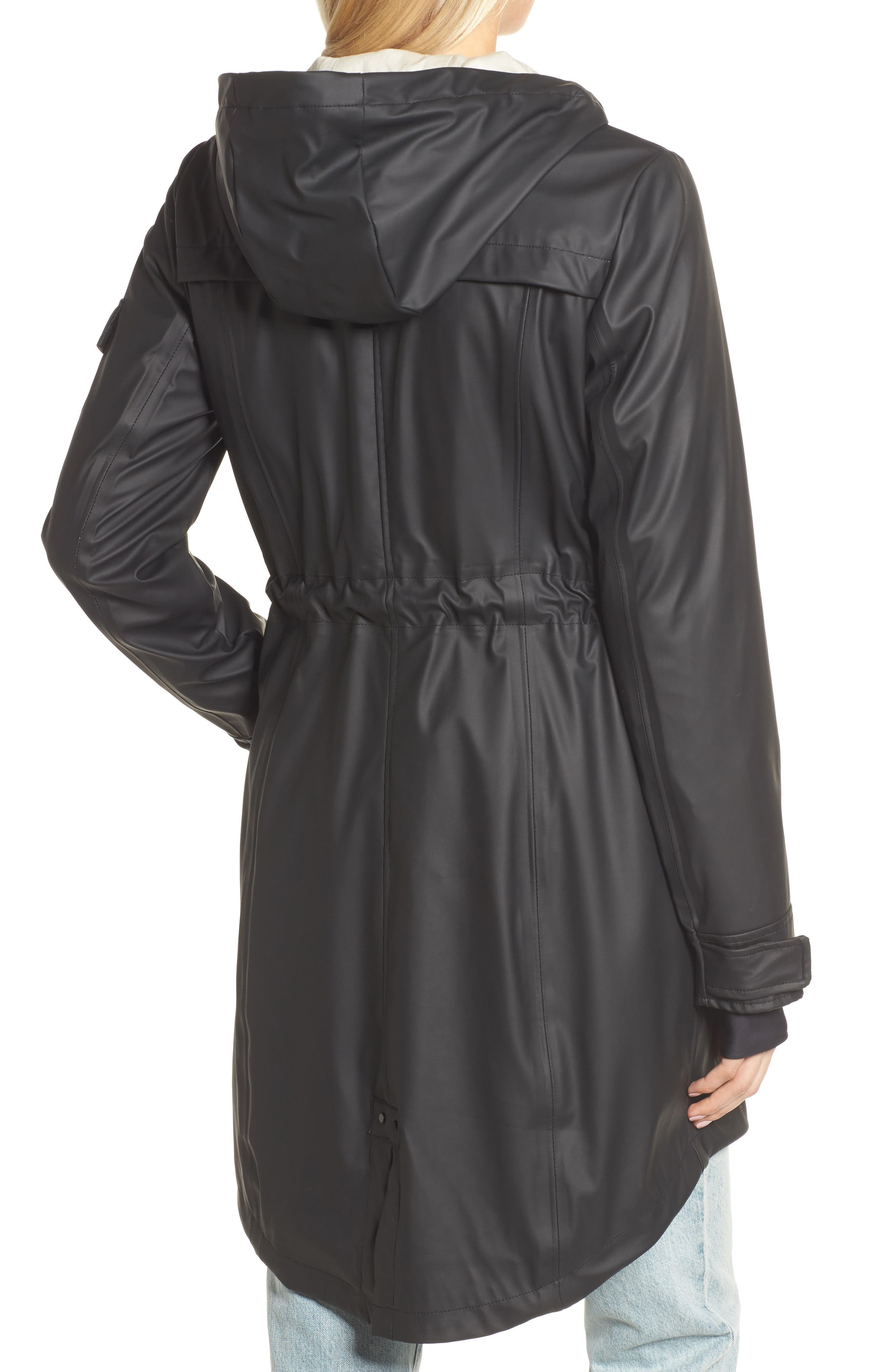 Contrast Cuff Fishtail Anorak,                             Alternate thumbnail 2, color,                             Black