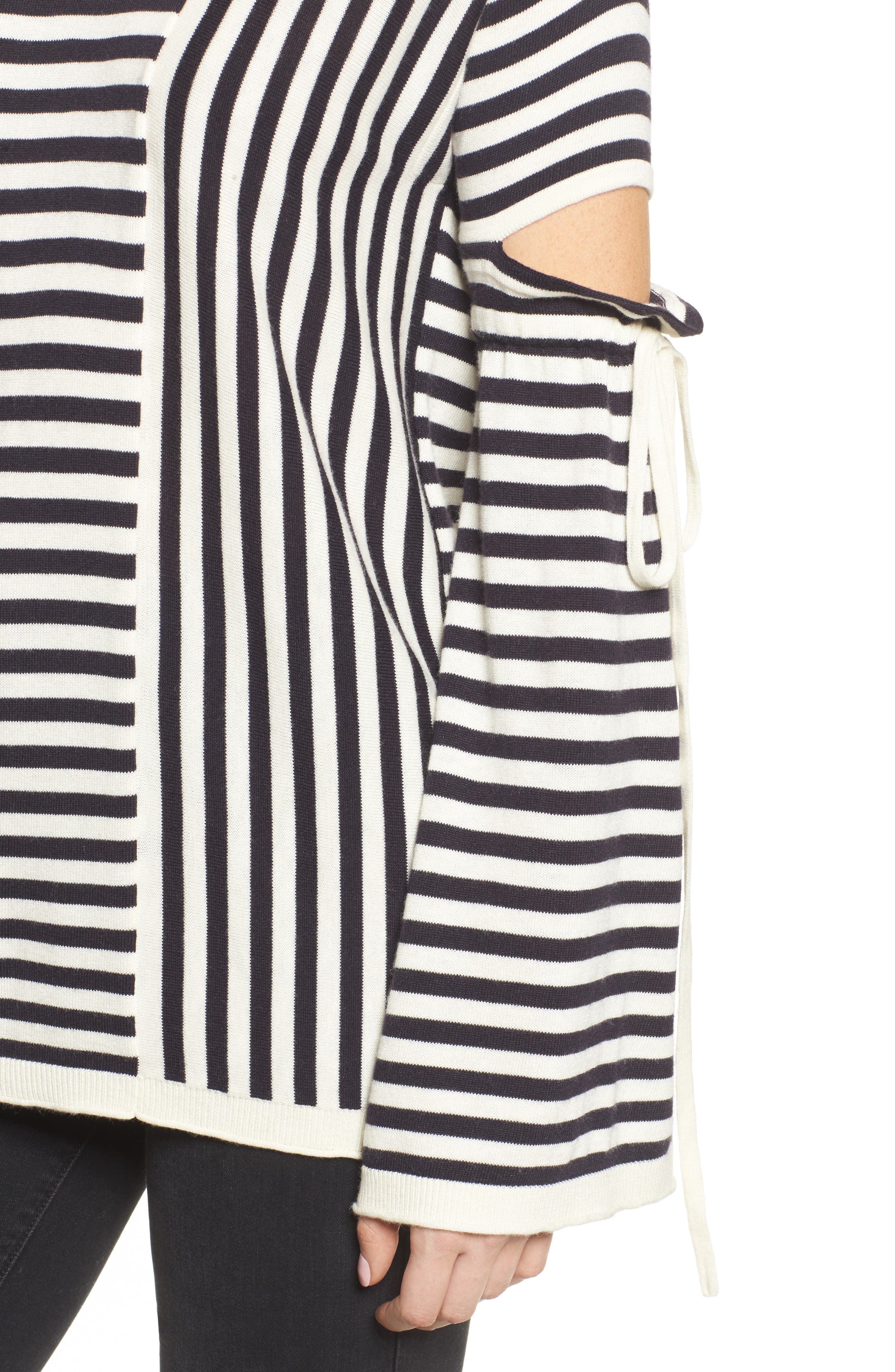 Stripe Cutout Sleeve Sweater,                             Alternate thumbnail 4, color,                             Navy Well- Ivory Stripe