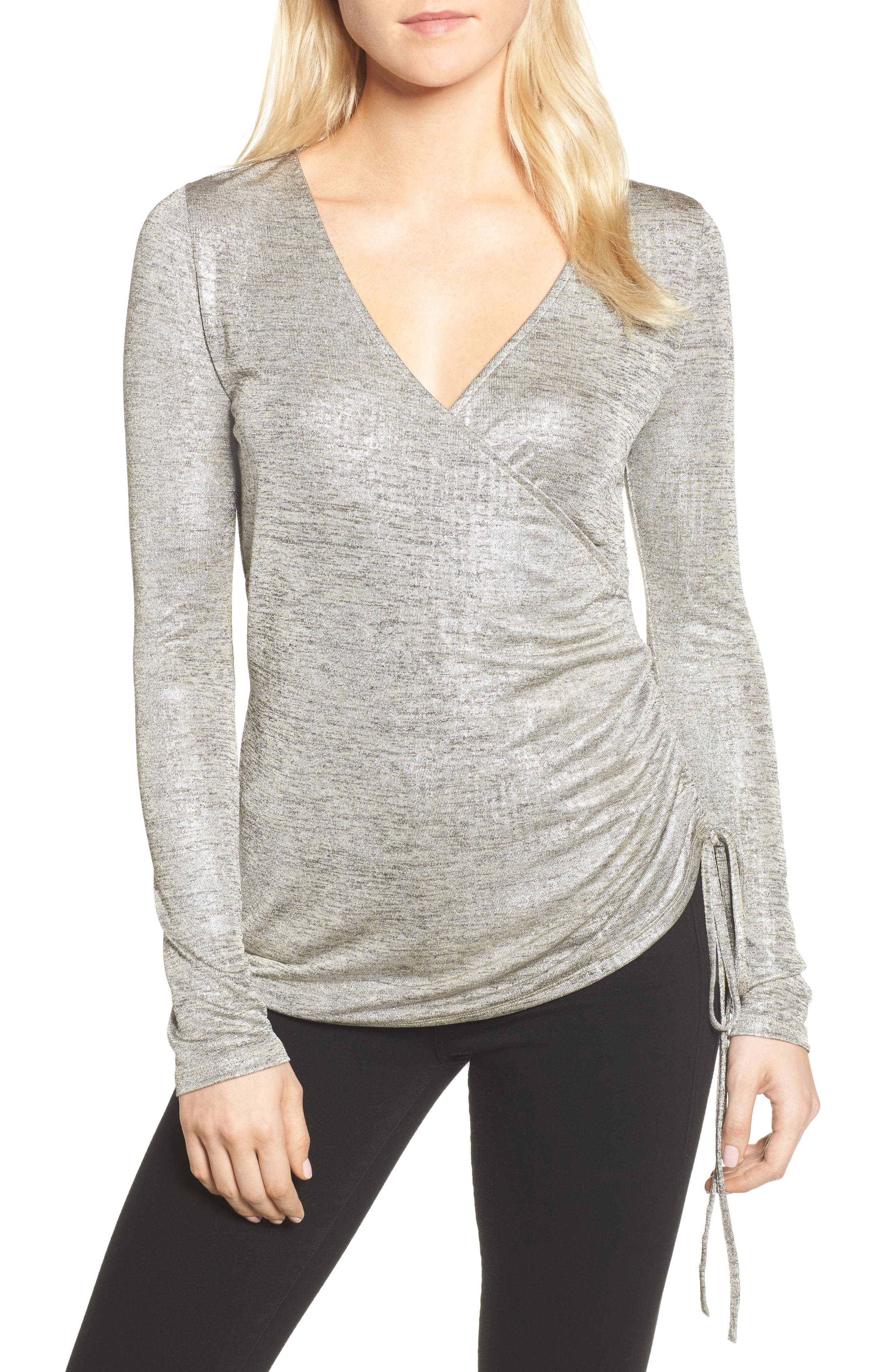 Ruched Metallic Top,                             Main thumbnail 1, color,                             Silver Foil