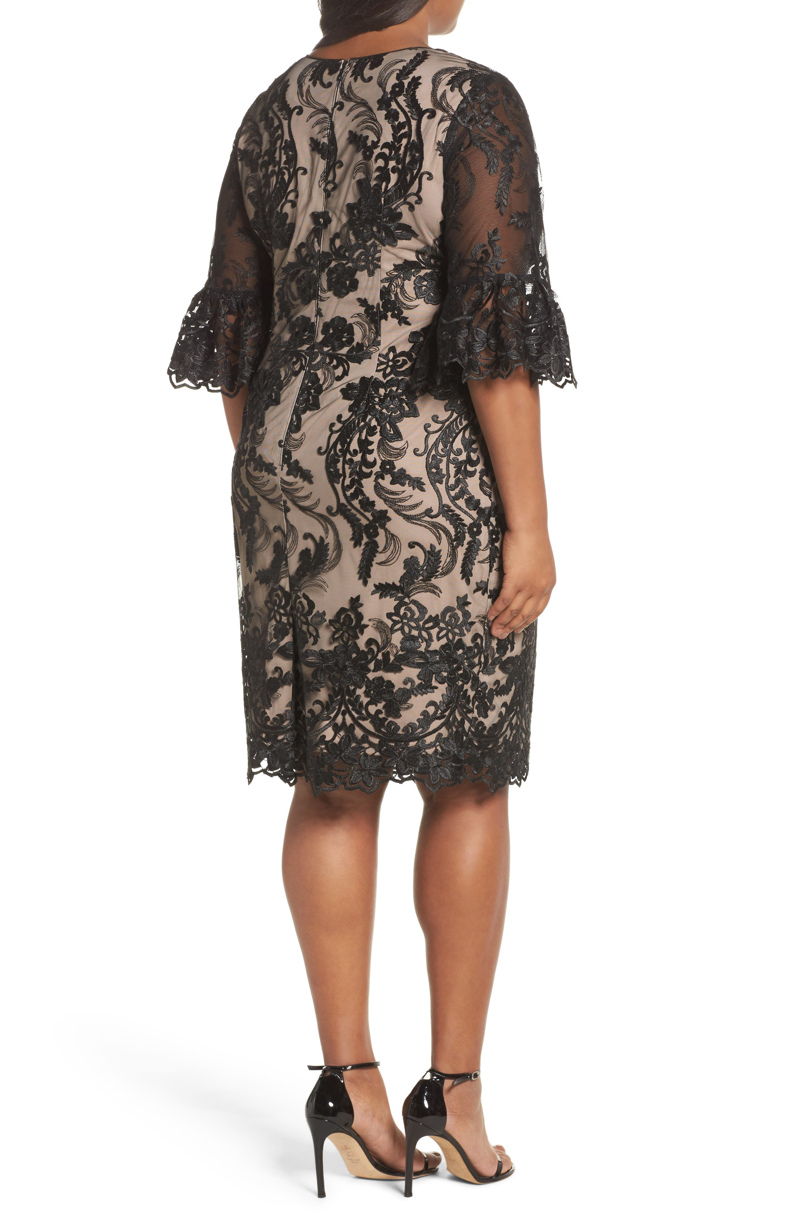 Alternate Image 2  - Adrianna Papell Flounce Sleeve Embroidered Lace Dress (Plus Size)
