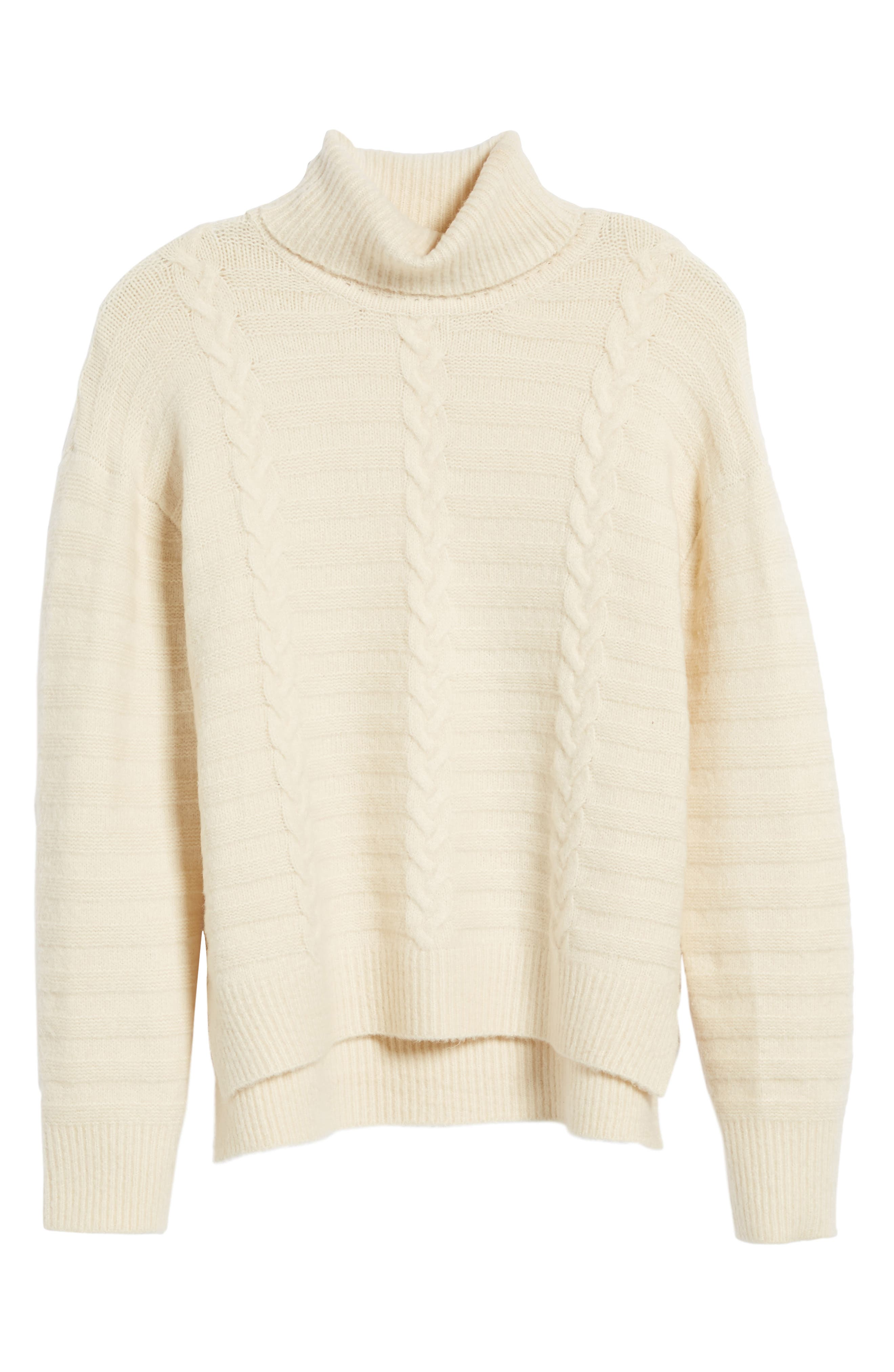 Turtleneck Sweater,                             Alternate thumbnail 6, color,                             Ivory