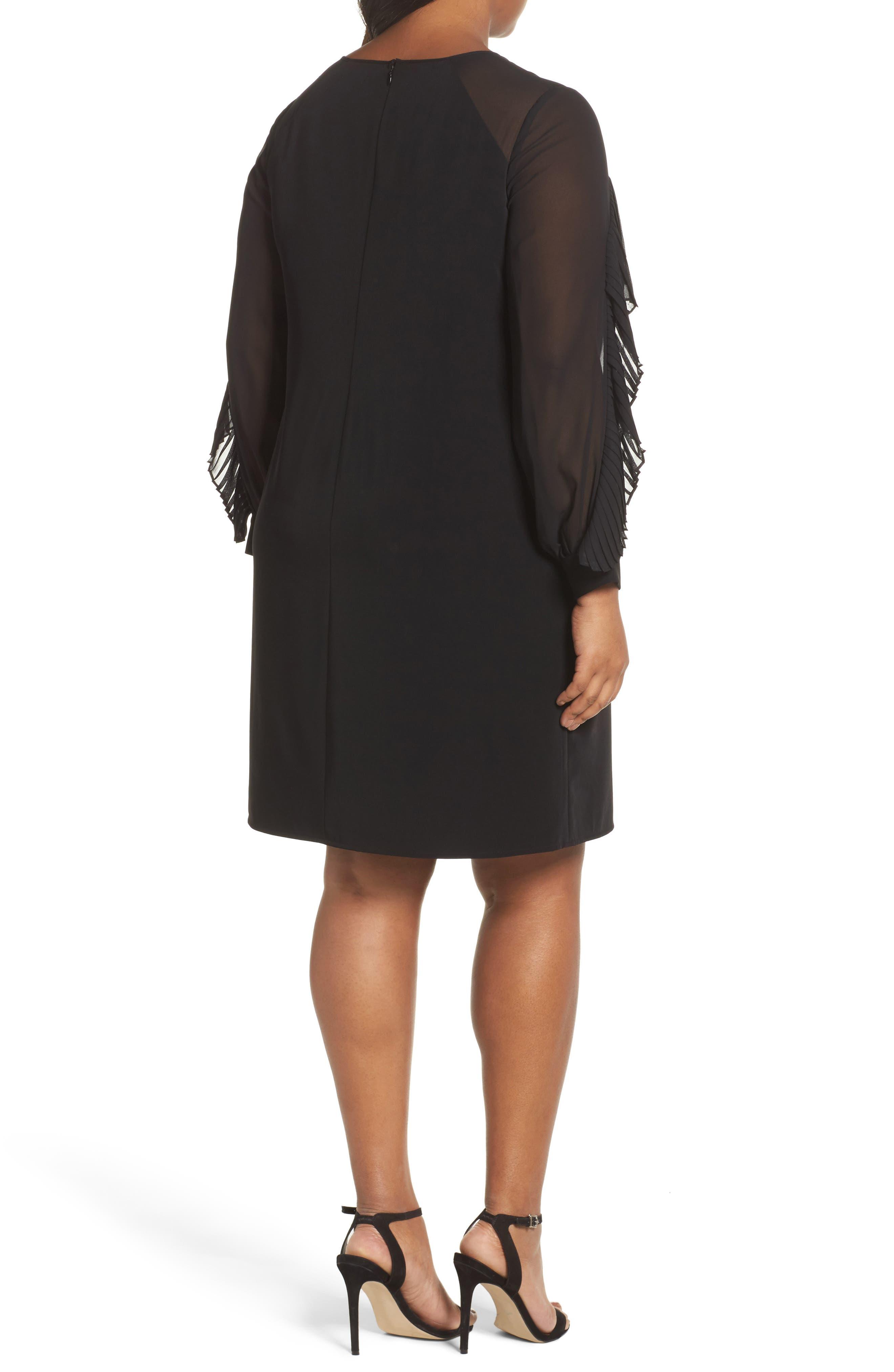 Pleat Ruffle Trim Shift Dress,                             Alternate thumbnail 2, color,                             Black