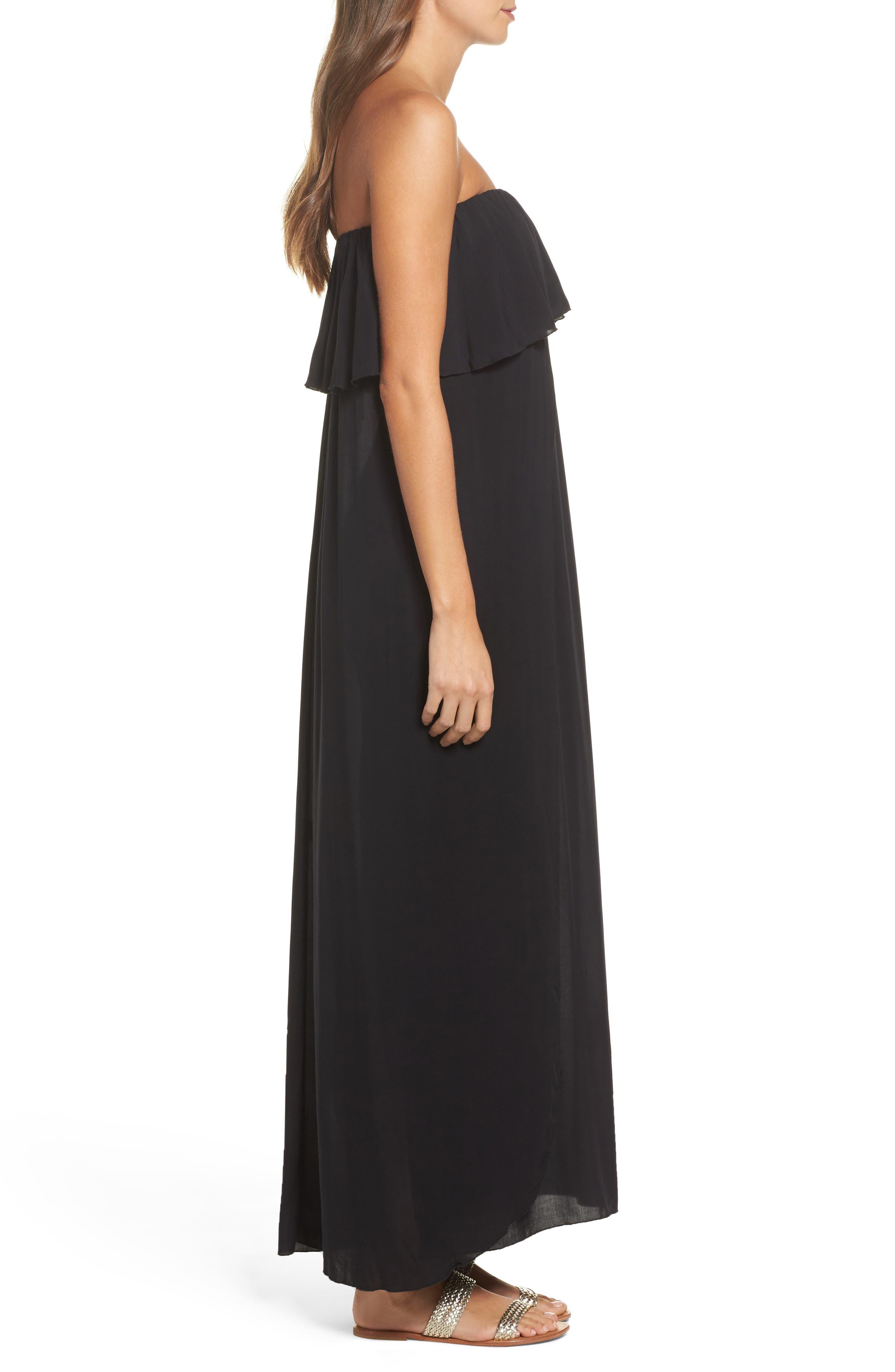 Strapless Maxi Cover-Up Dress,                             Alternate thumbnail 3, color,                             Black