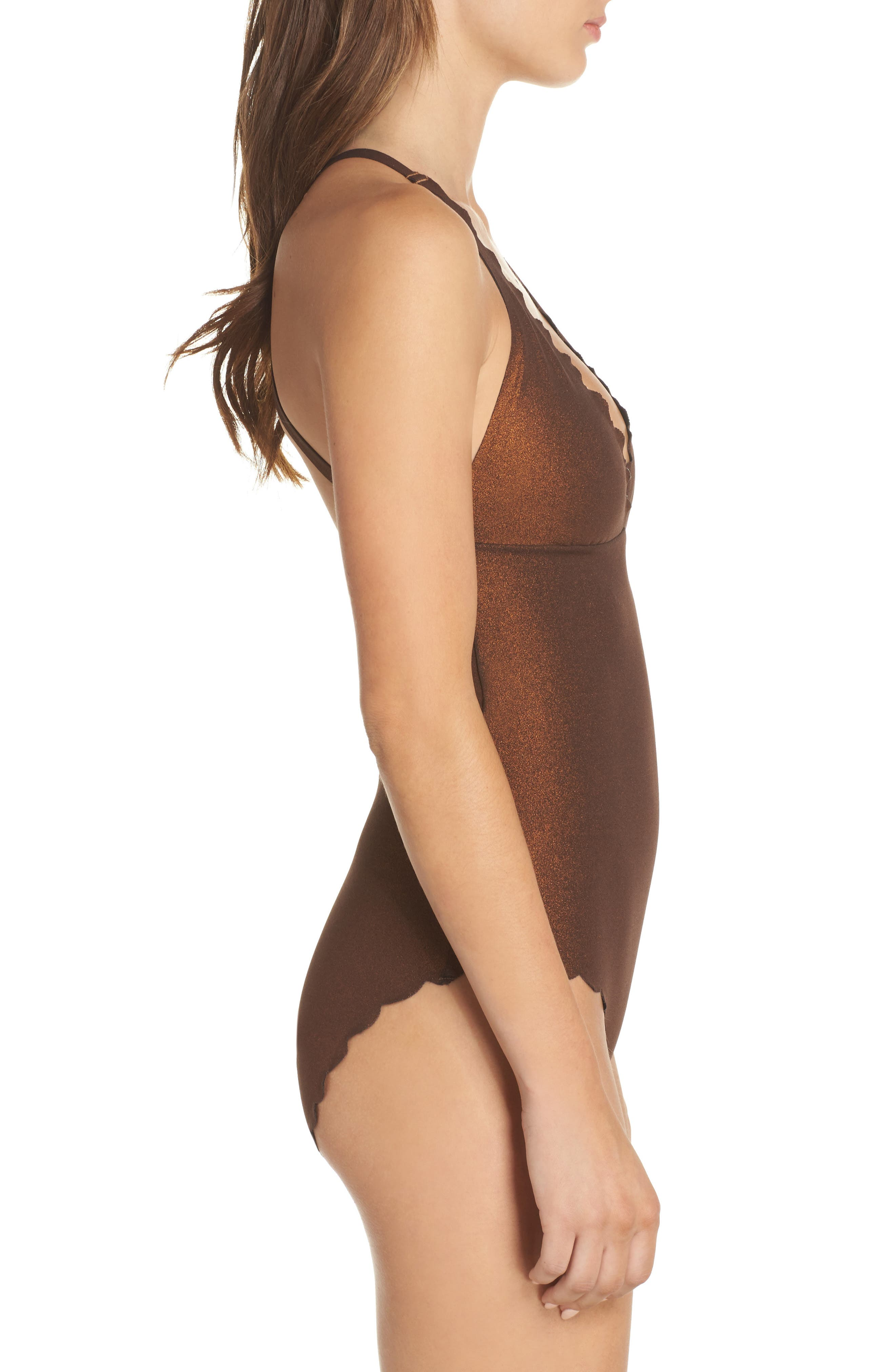 Wave Reversible Seamless One-Piece Swimsuit,                             Alternate thumbnail 4, color,                             Copper
