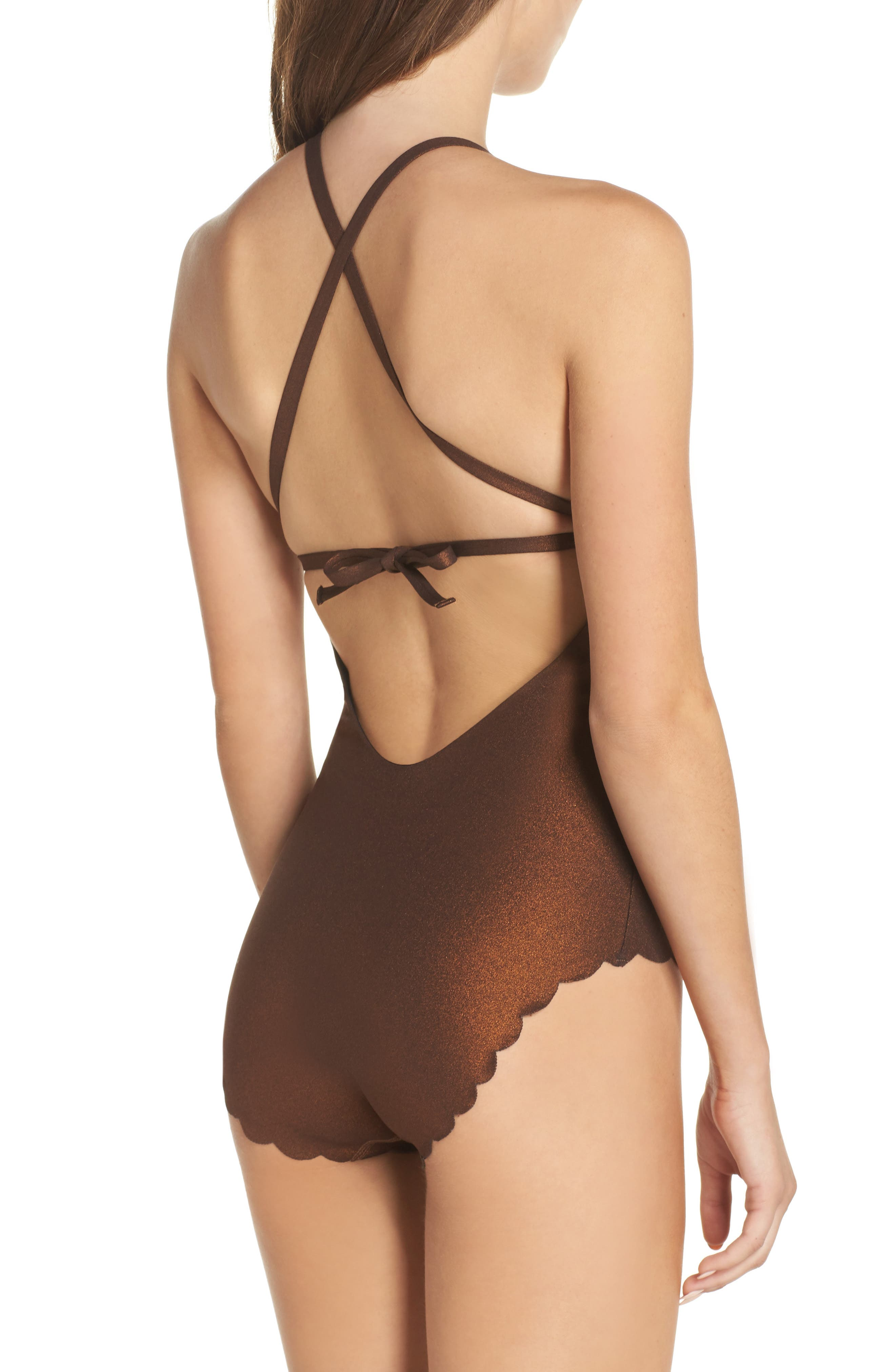 Wave Reversible Seamless One-Piece Swimsuit,                             Alternate thumbnail 3, color,                             Copper