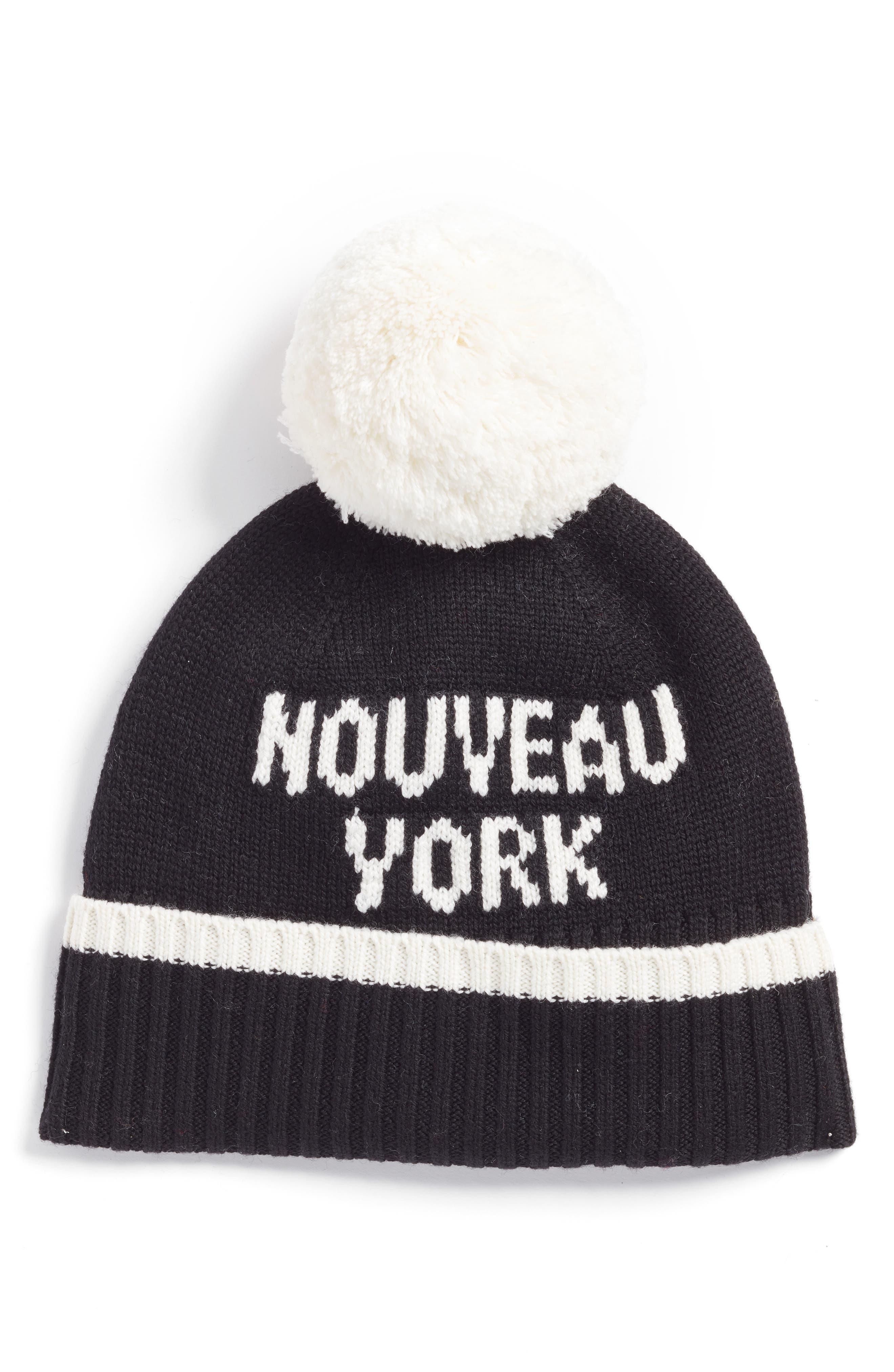 kate spade new york nouveau york pom beanie