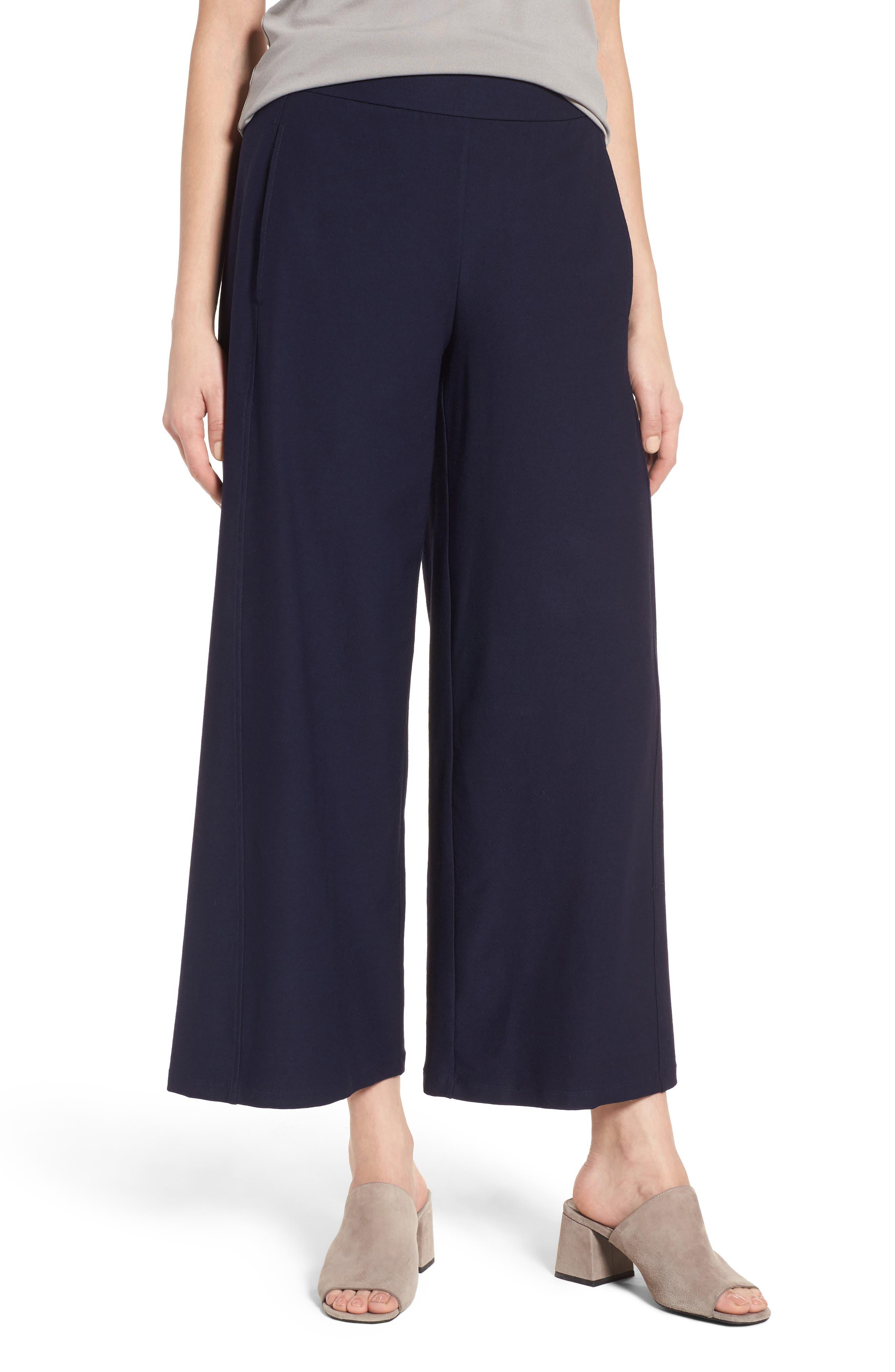 Wide Leg Crop Pants,                         Main,                         color, Midnight