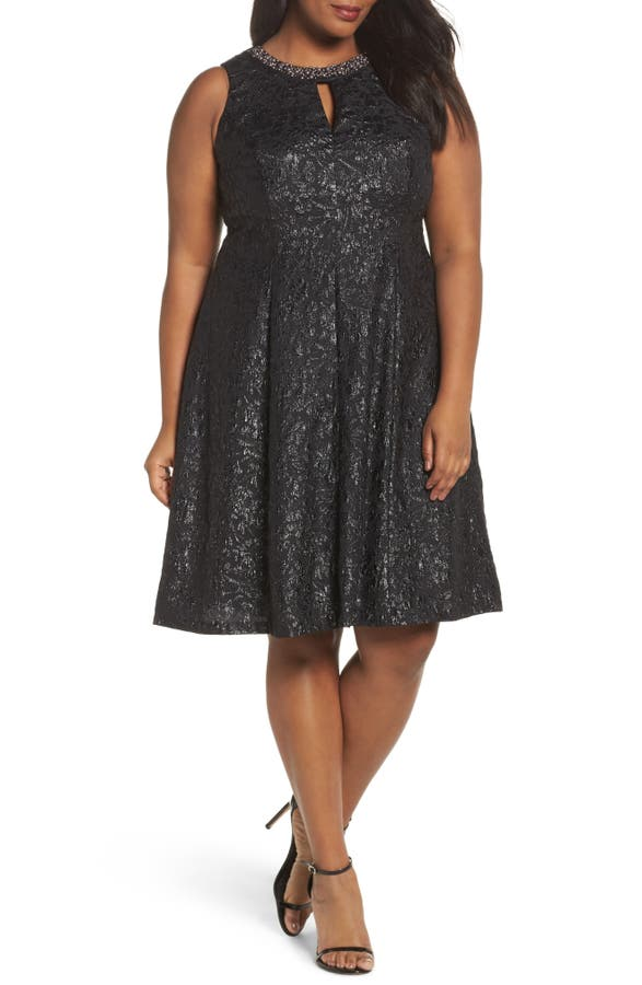 London Times Beaded Neck Fit Flare Dress Plus Size Nordstrom