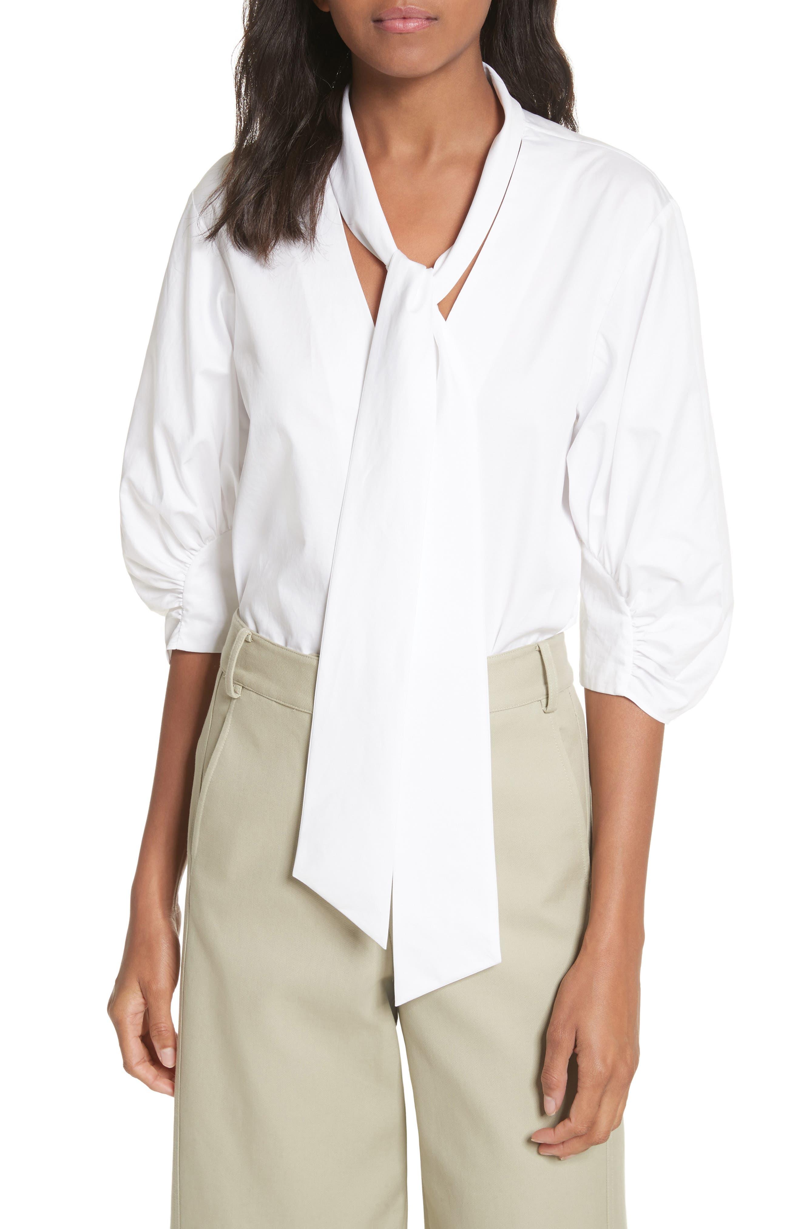 Tie Neck Cotton Top,                         Main,                         color, White