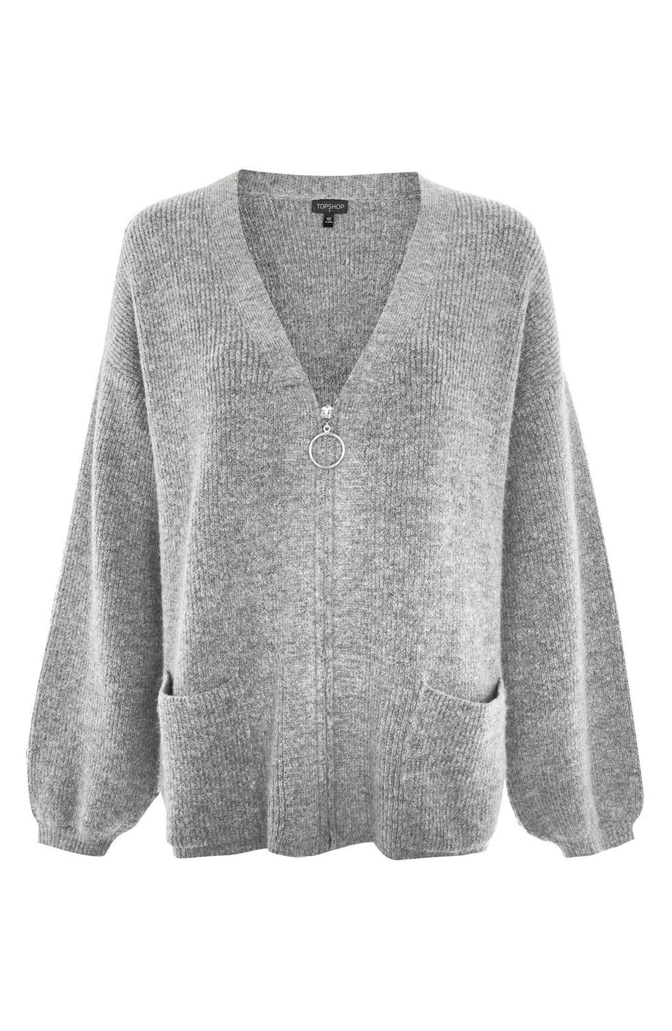 Ring Zip Cardigan,                             Alternate thumbnail 5, color,                             Grey