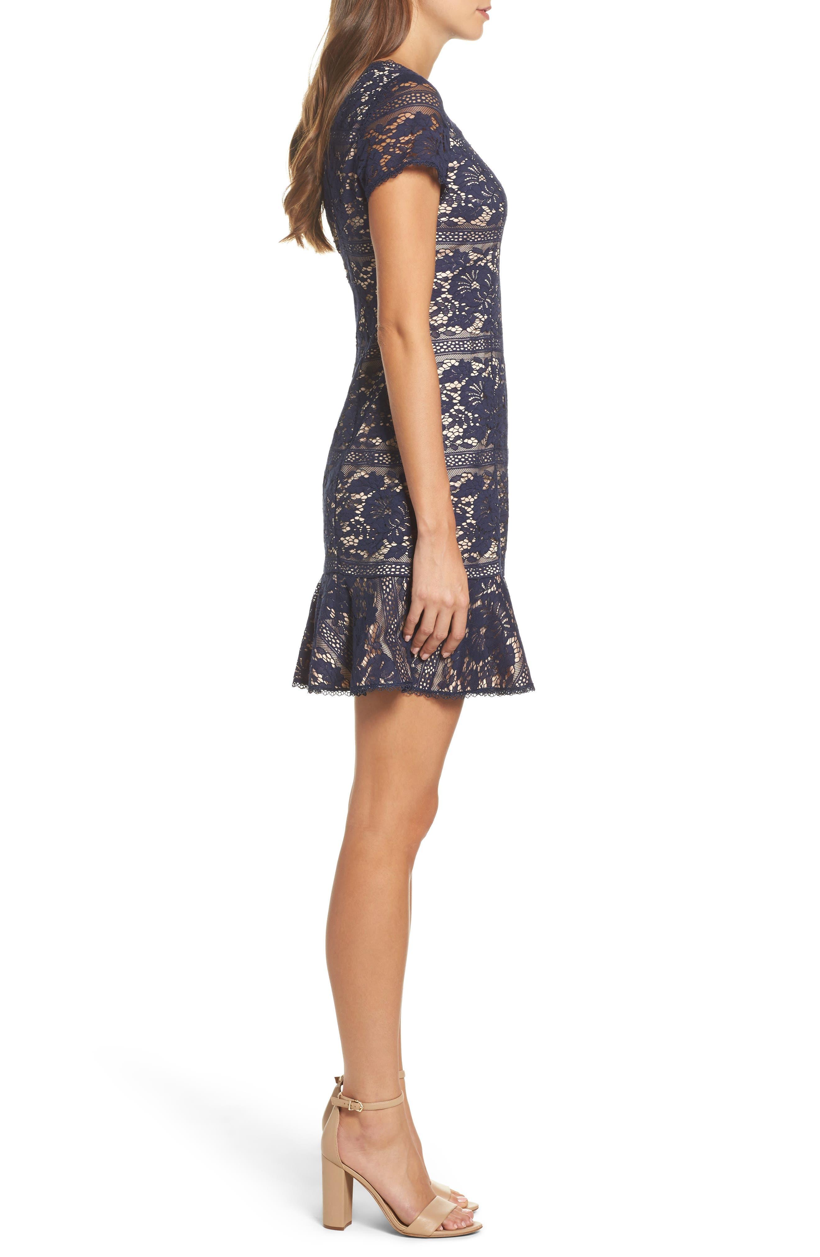Lace Ruffle Hem Sheath Dress,                             Alternate thumbnail 3, color,                             Navy