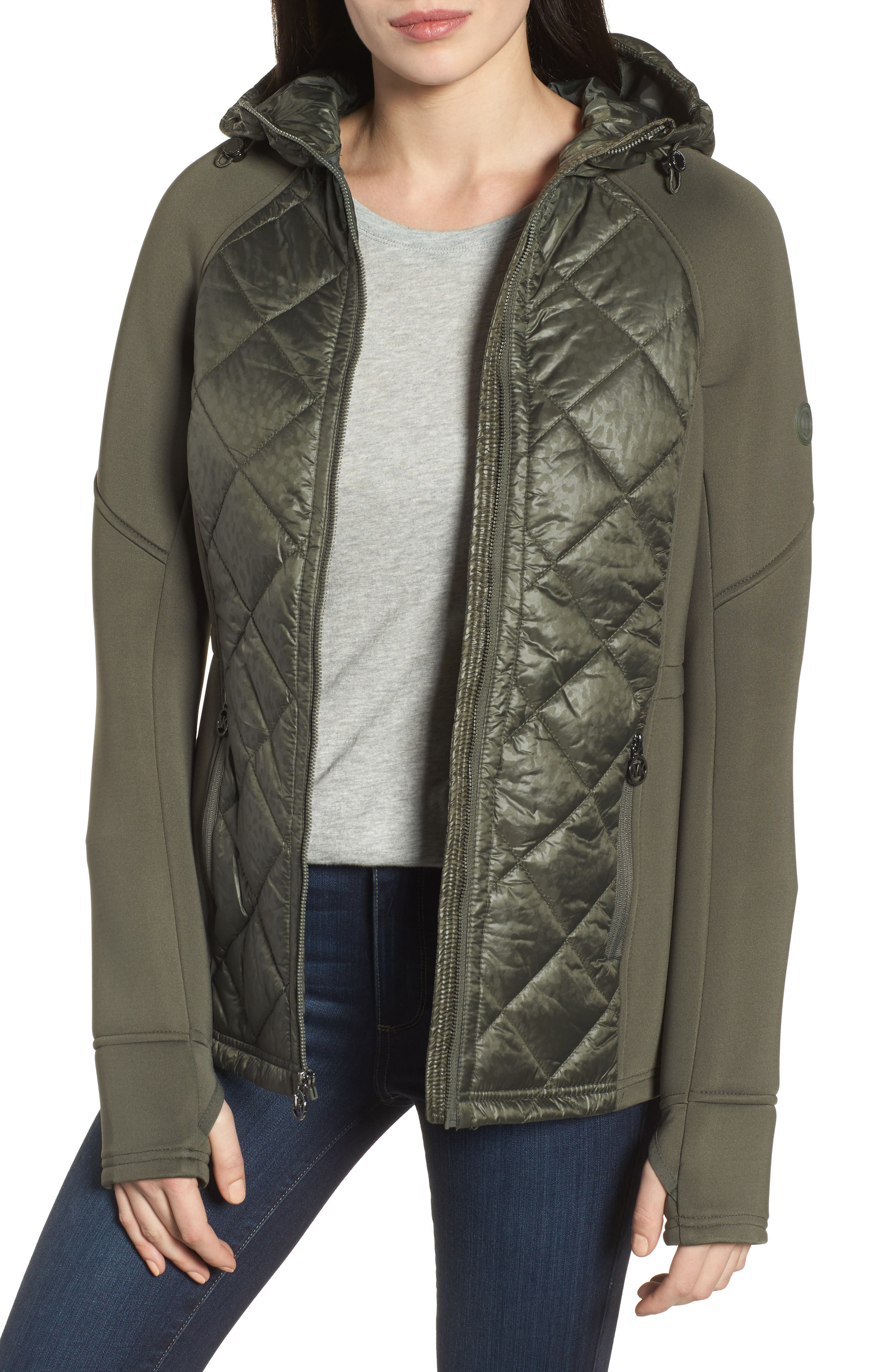 MICHAEL Michael Kors Neoprene & Diamond Quilted Jacket