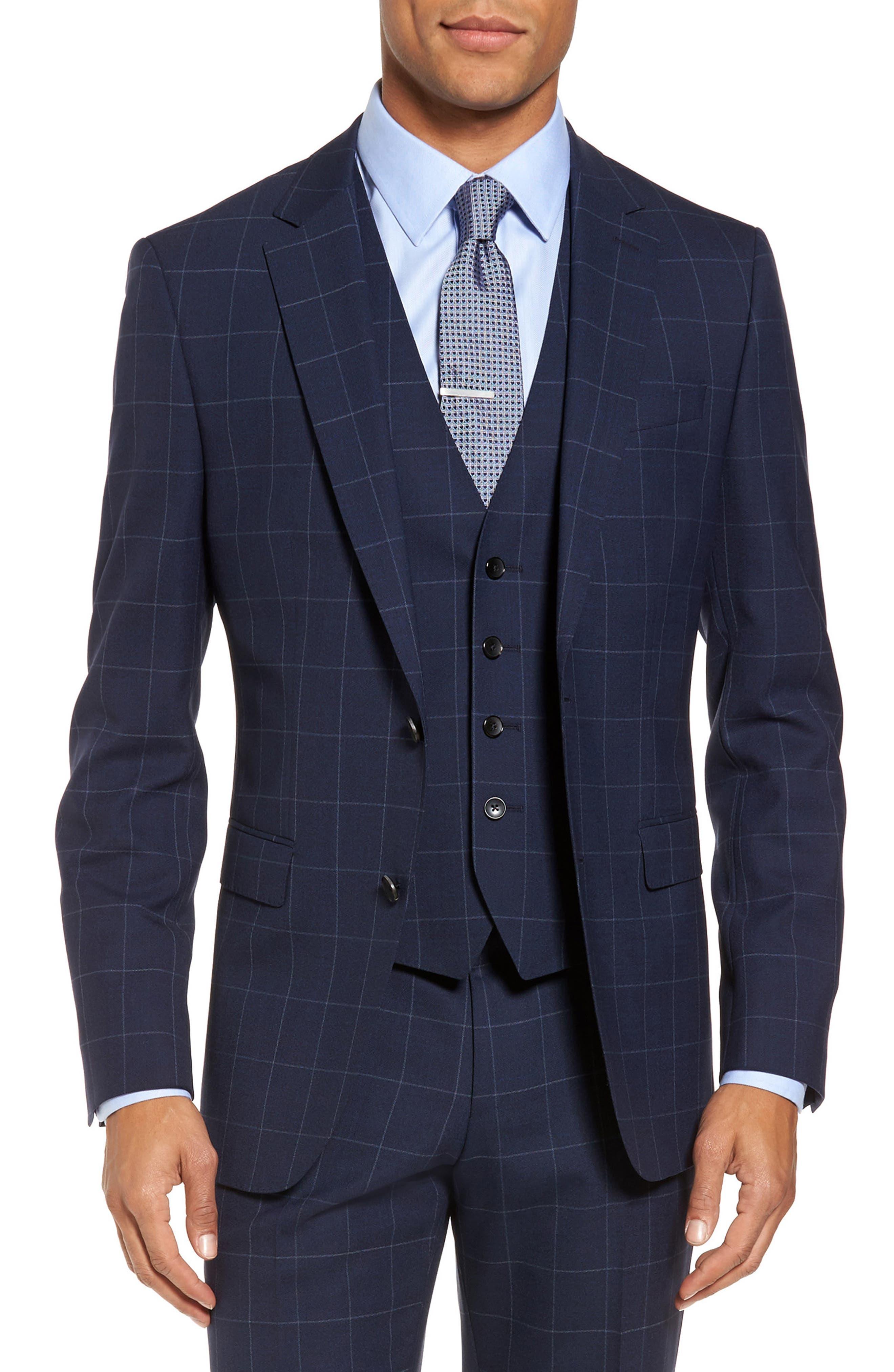 Huge/Genius Trim Fit Three Piece Windowpane Wool Suit,                             Alternate thumbnail 5, color,                             Navy
