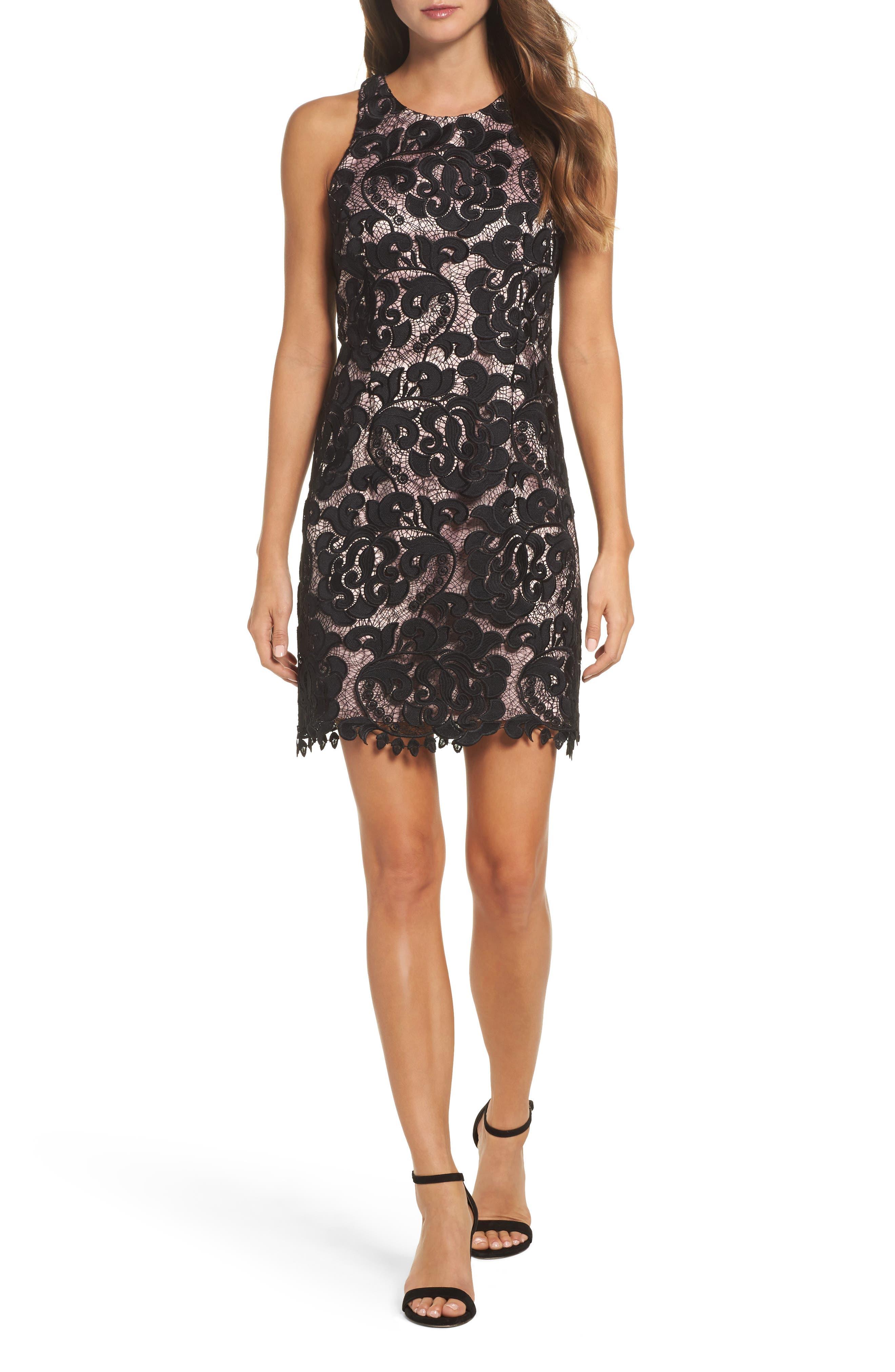 Lace Sheath Dress,                         Main,                         color, Black/ Blush