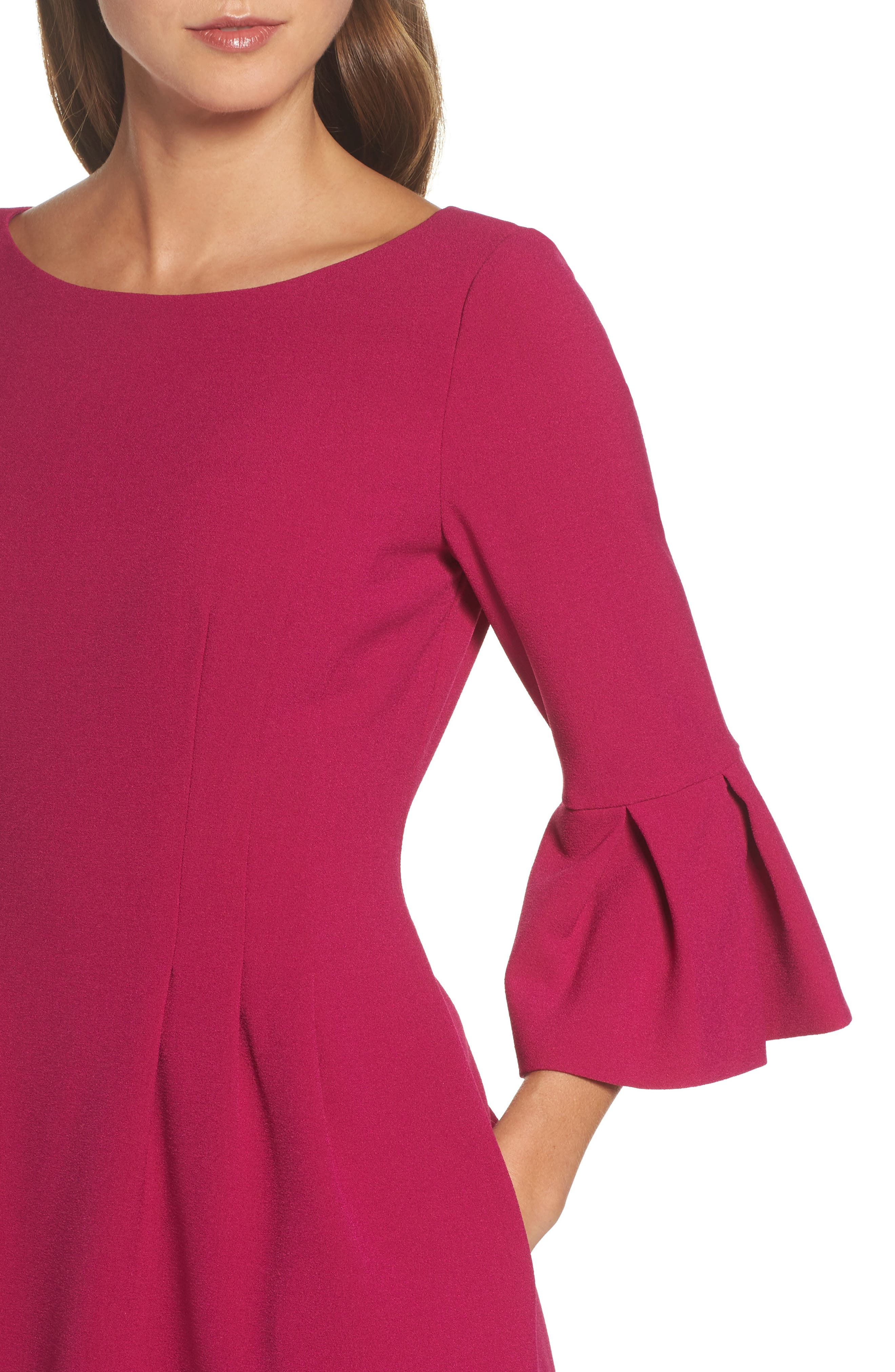 Bell Sleeve Fit & Flare Dress,                             Alternate thumbnail 4, color,                             Magenta