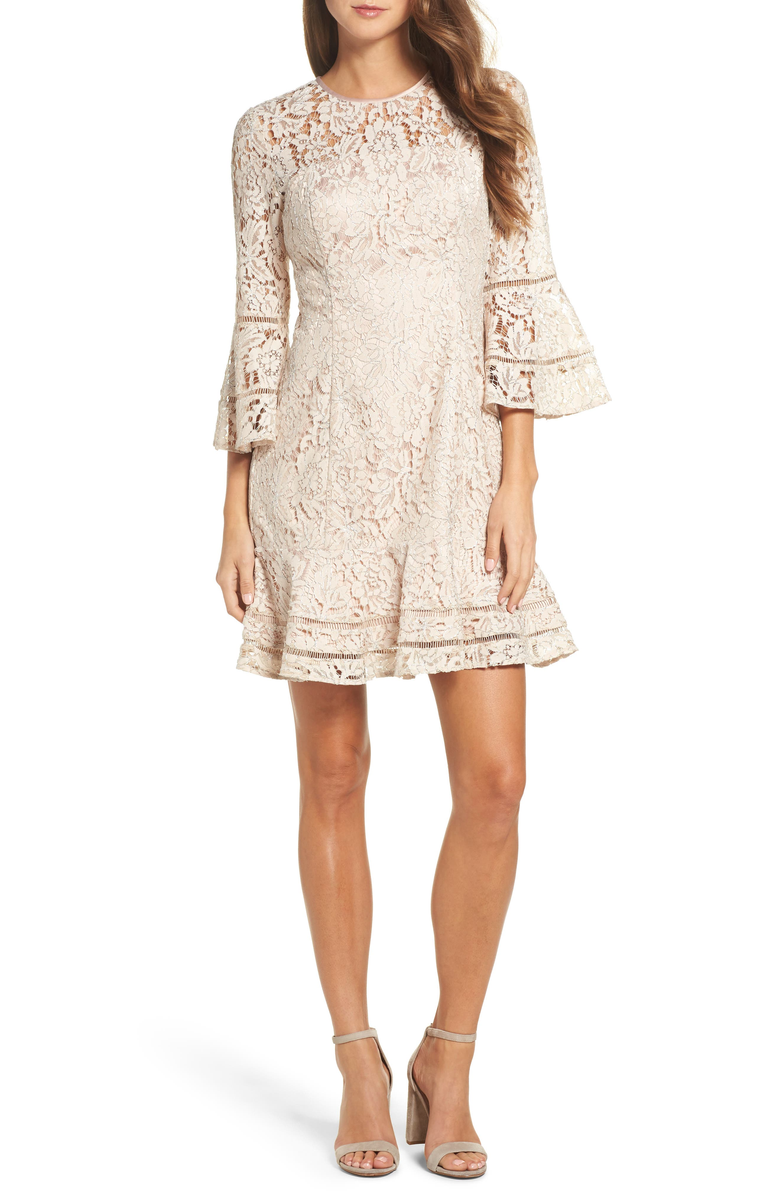 Lace Bell Sleeve Dress,                         Main,                         color, Blush/ Silver