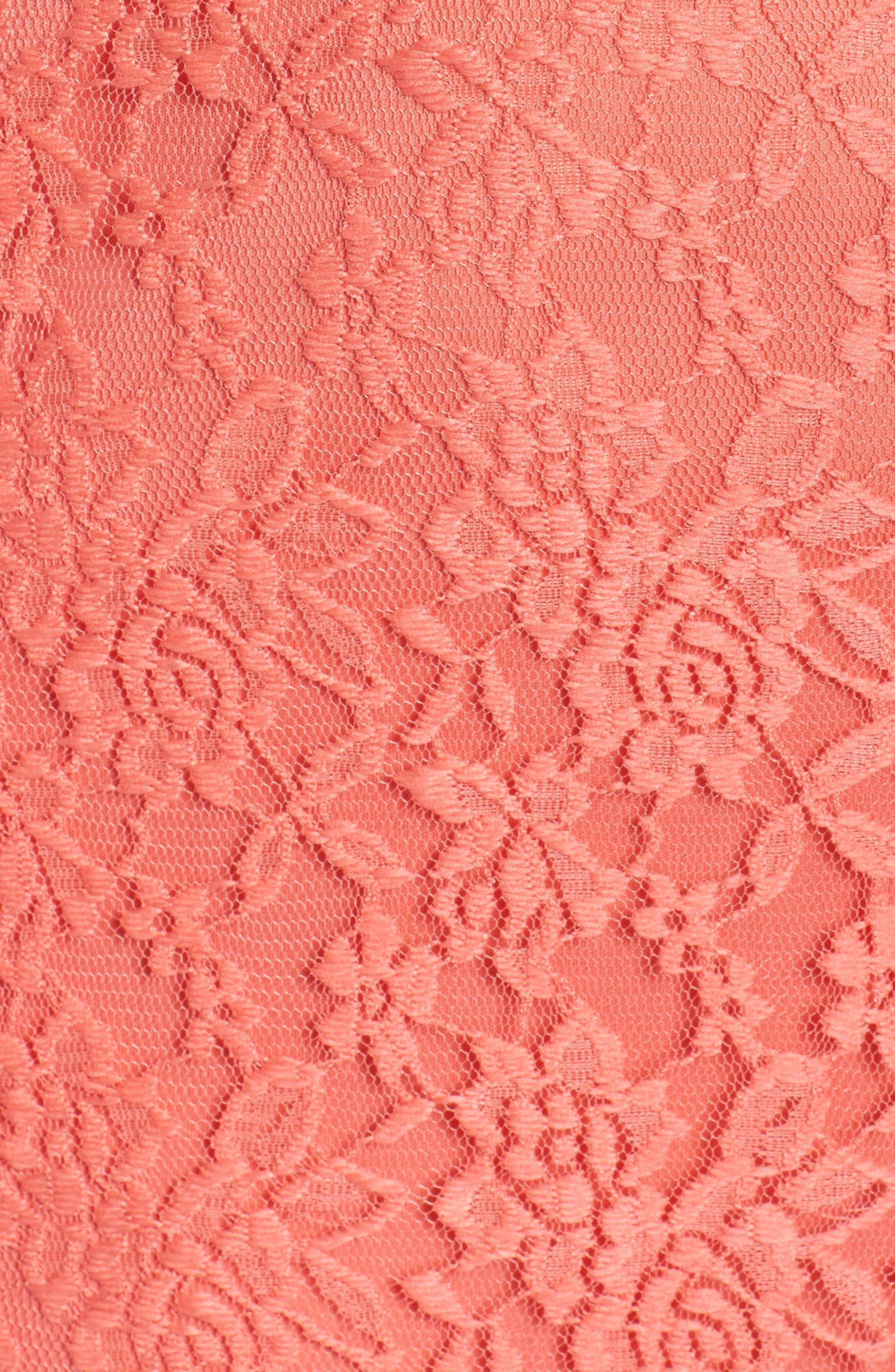 Lace Skater Dress,                             Alternate thumbnail 5, color,                             Coral