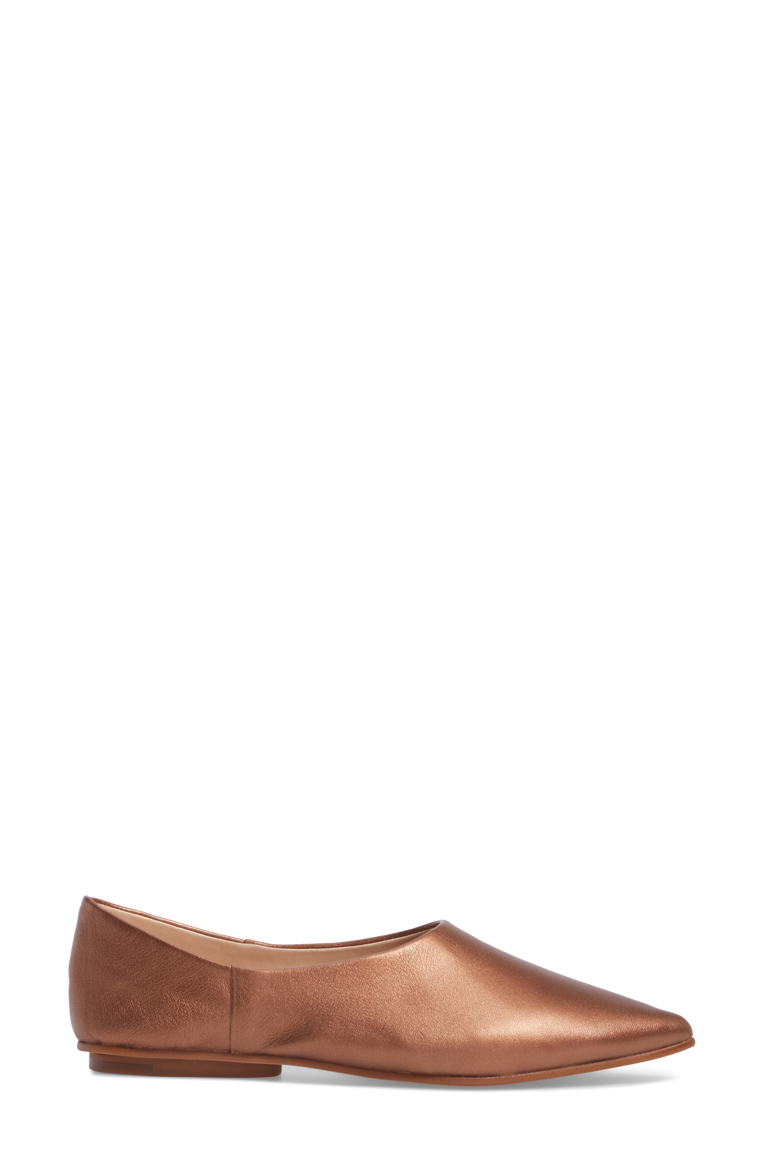 Stanta Pointy Toe Flat,                             Alternate thumbnail 3, color,                             Penny Leather