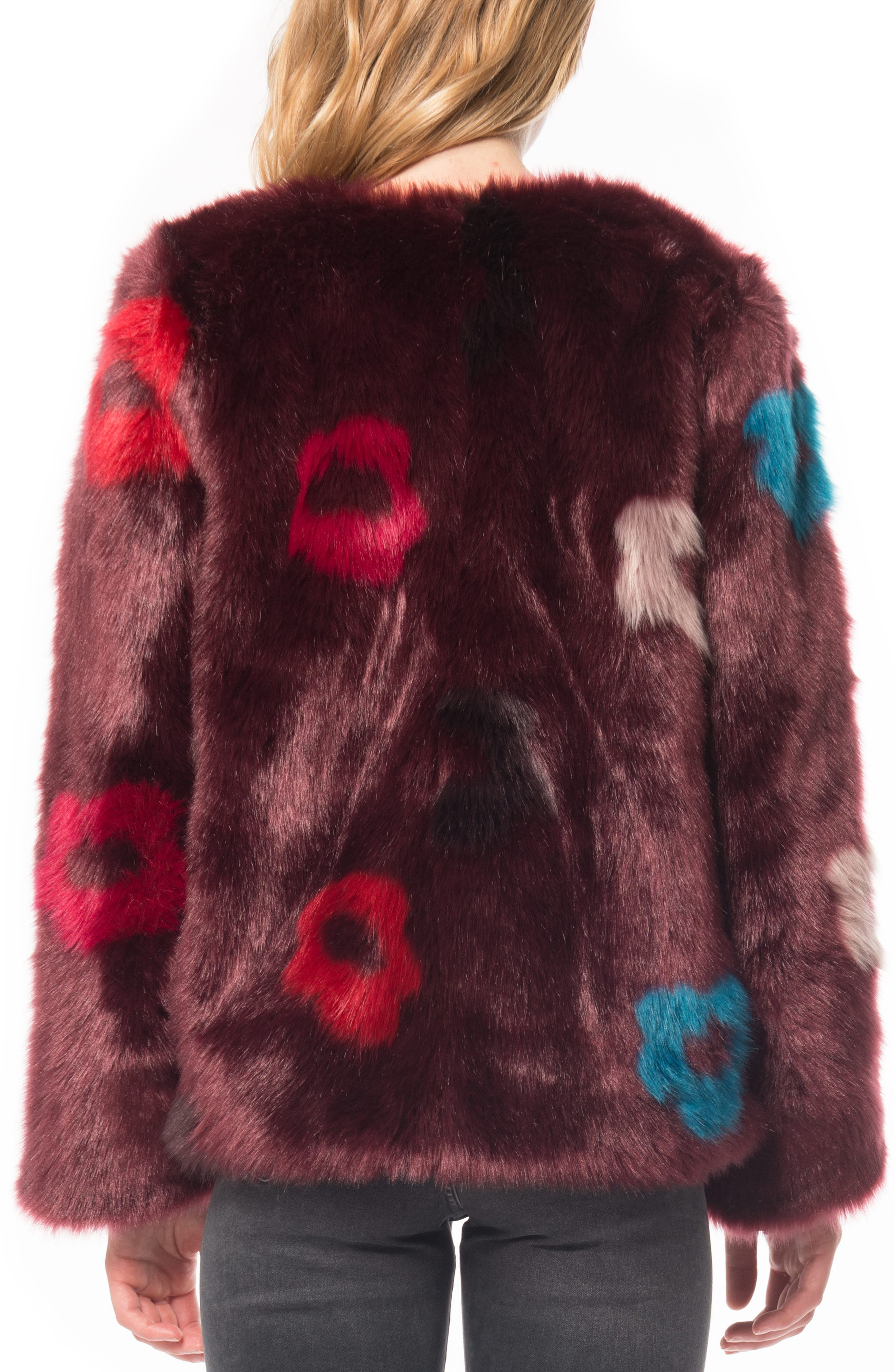Flower Faux Fur Jacket,                             Alternate thumbnail 2, color,                             Plum