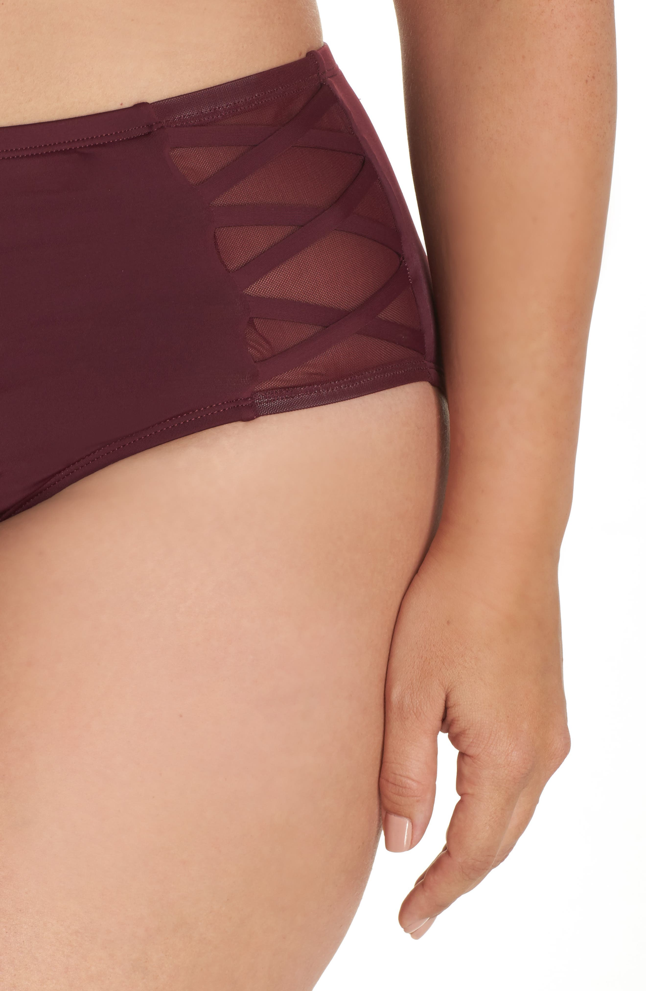 High Waist Bikini Bottoms,                             Alternate thumbnail 4, color,                             Burgundy