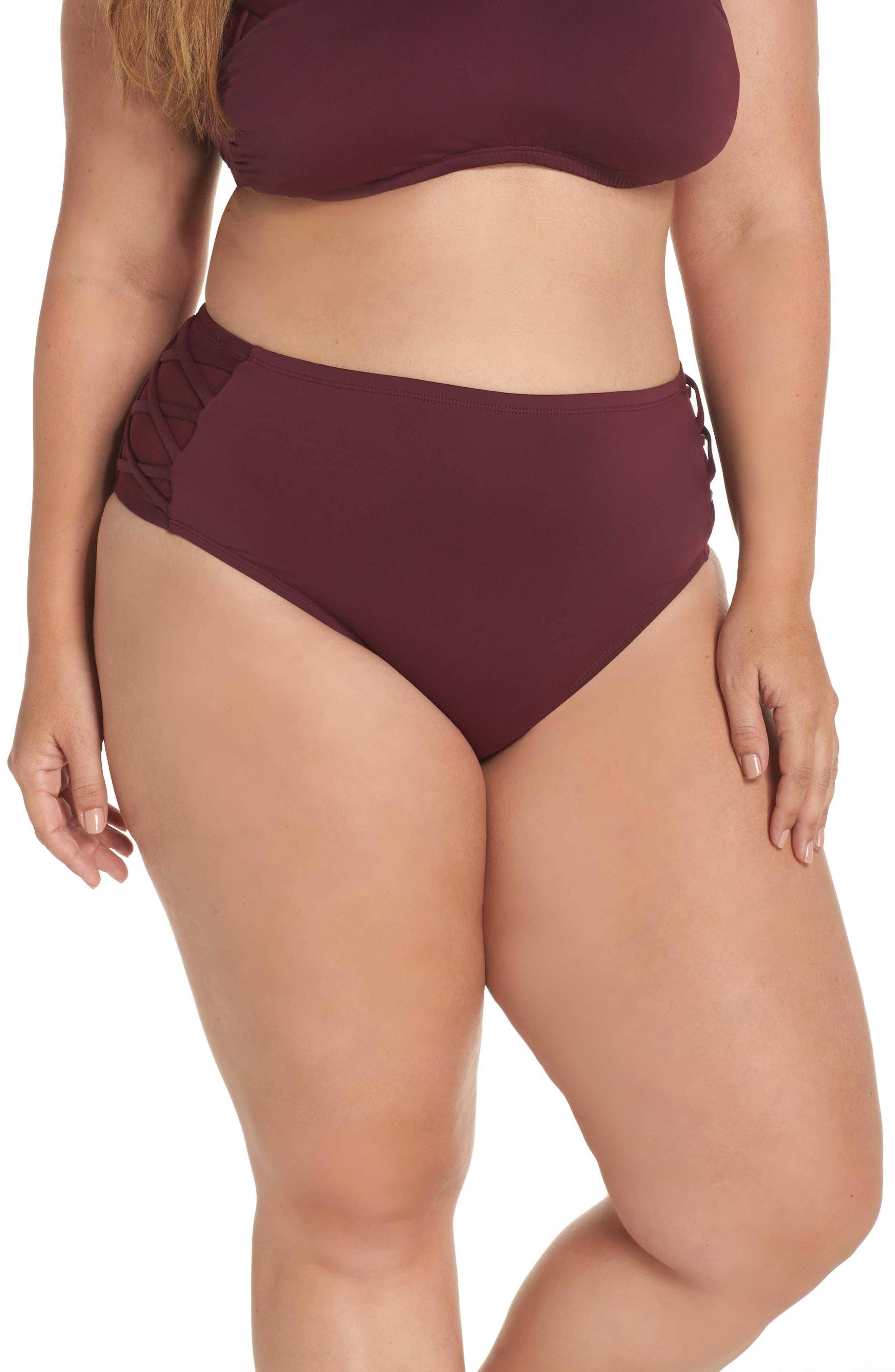 High Waist Bikini Bottoms,                         Main,                         color, Burgundy