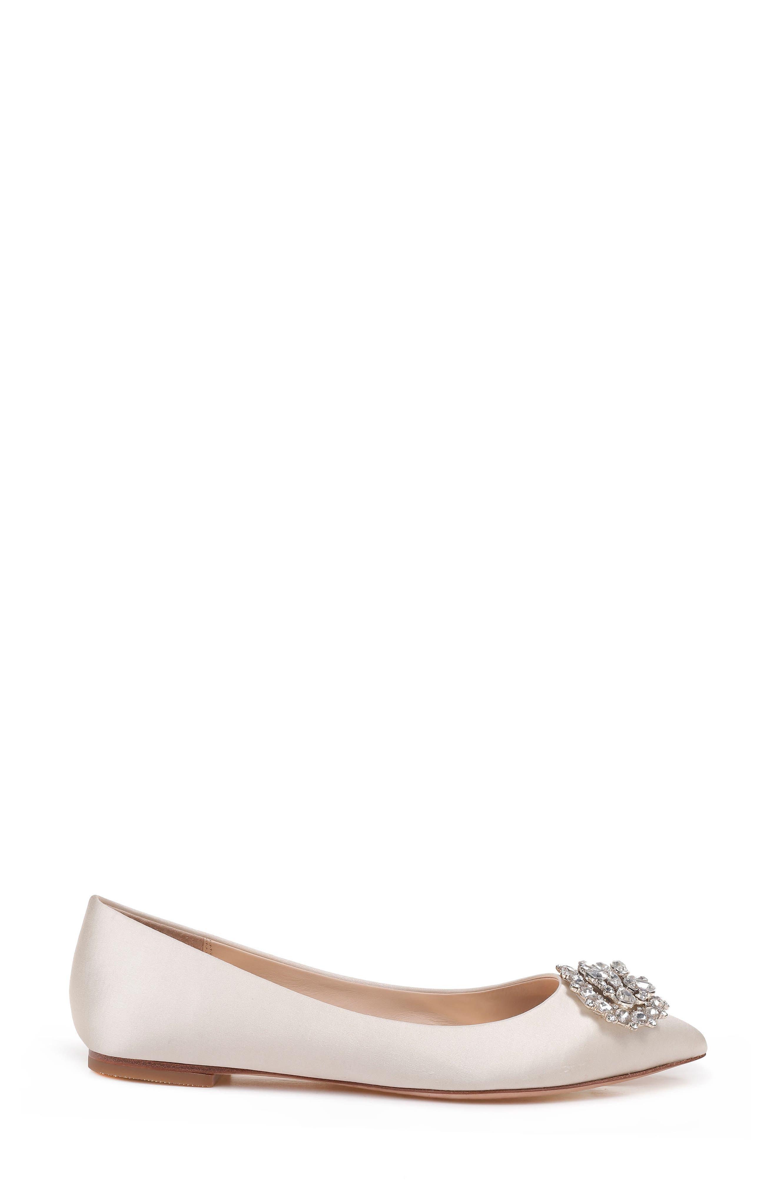 'Davis' Crystal Embellished Pointy Toe Flat,                             Alternate thumbnail 3, color,                             Ivory Satin