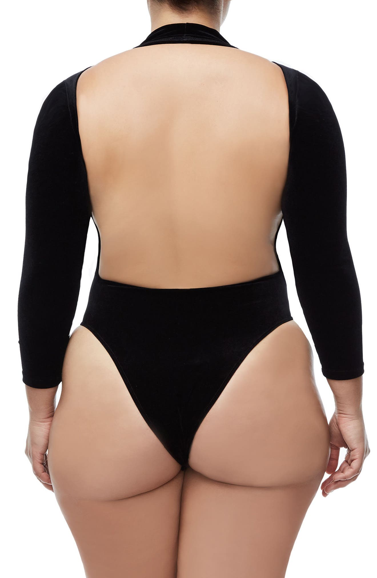 Backless Velvet Bodysuit,                             Alternate thumbnail 5, color,                             Black001