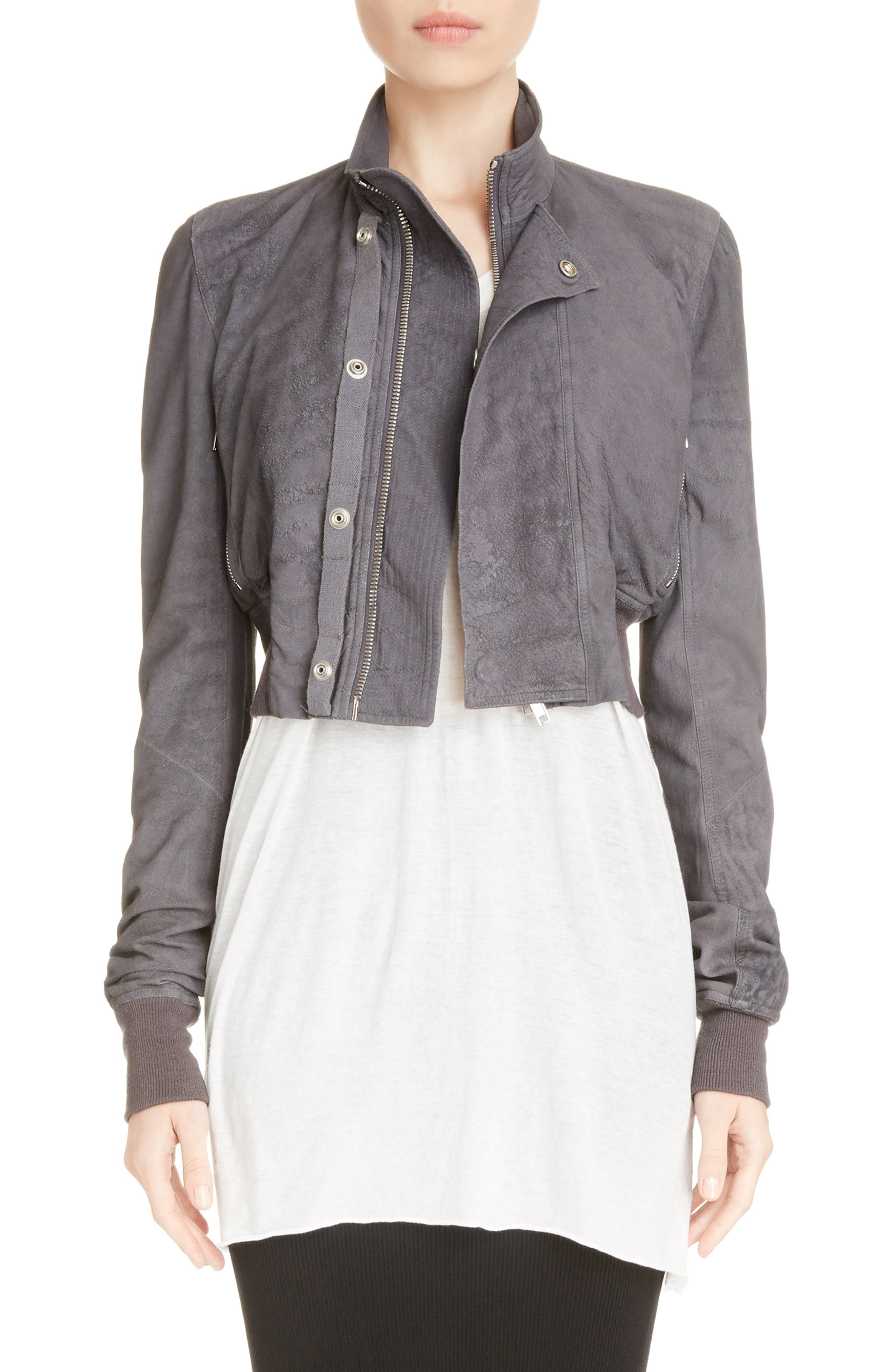 Blistered Leather Jacket,                         Main,                         color, Iron