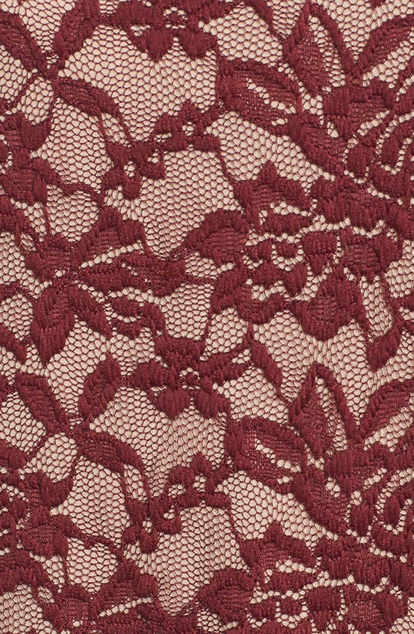 Mock Neck Lace Top,                             Alternate thumbnail 5, color,                             Zinfandel