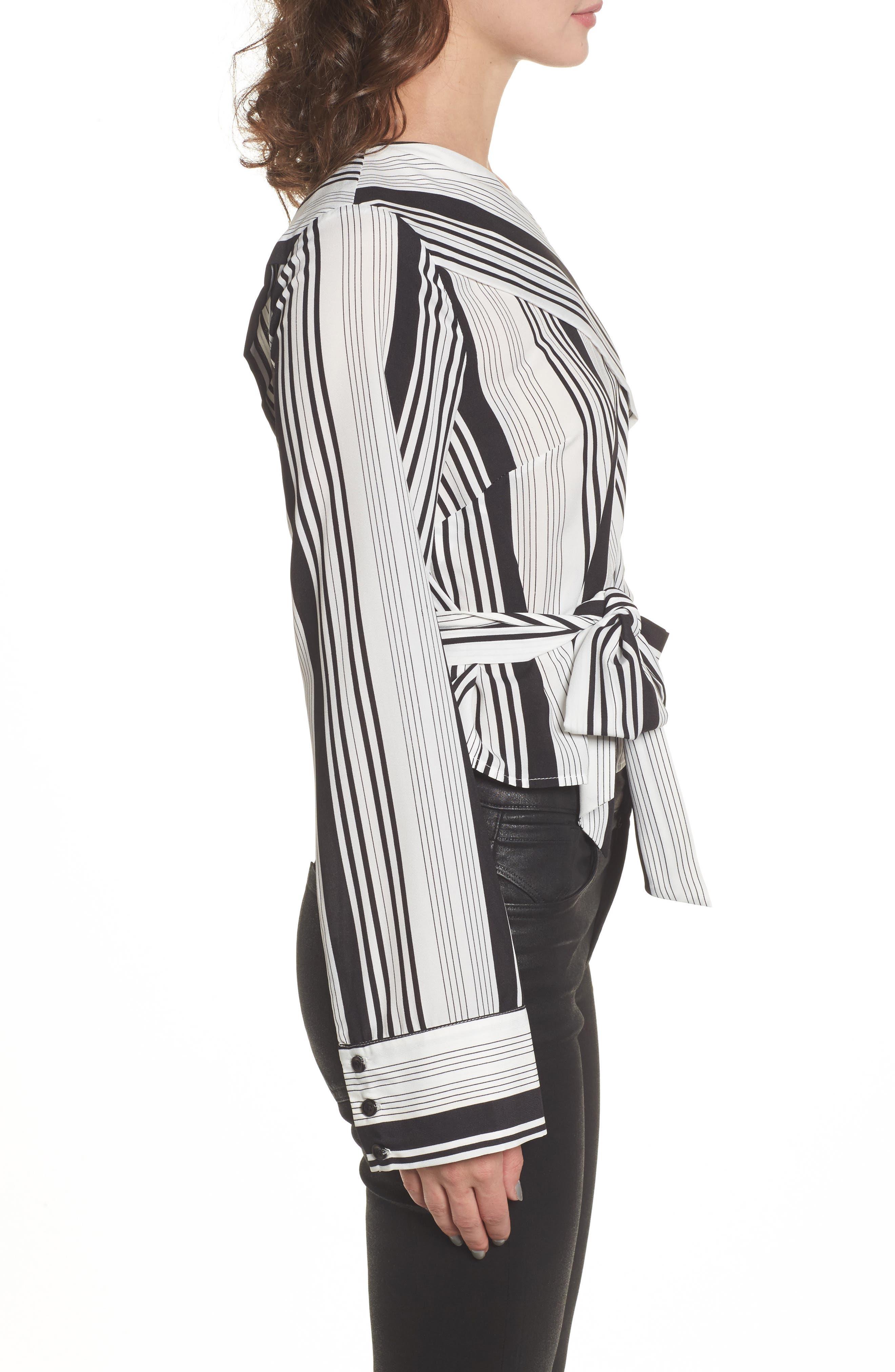 One-Shoulder Tie Waist Shirt,                             Alternate thumbnail 3, color,                             Black/ White Stripe