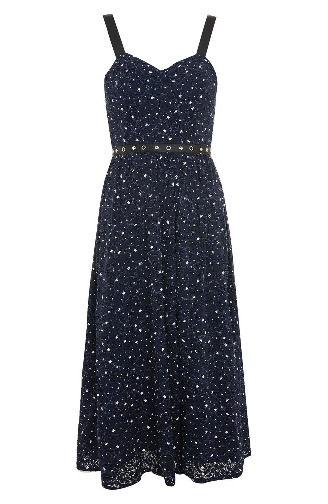 Star Lace Bustier Midi Dress,                             Alternate thumbnail 3, color,                             Navy Blue Multi
