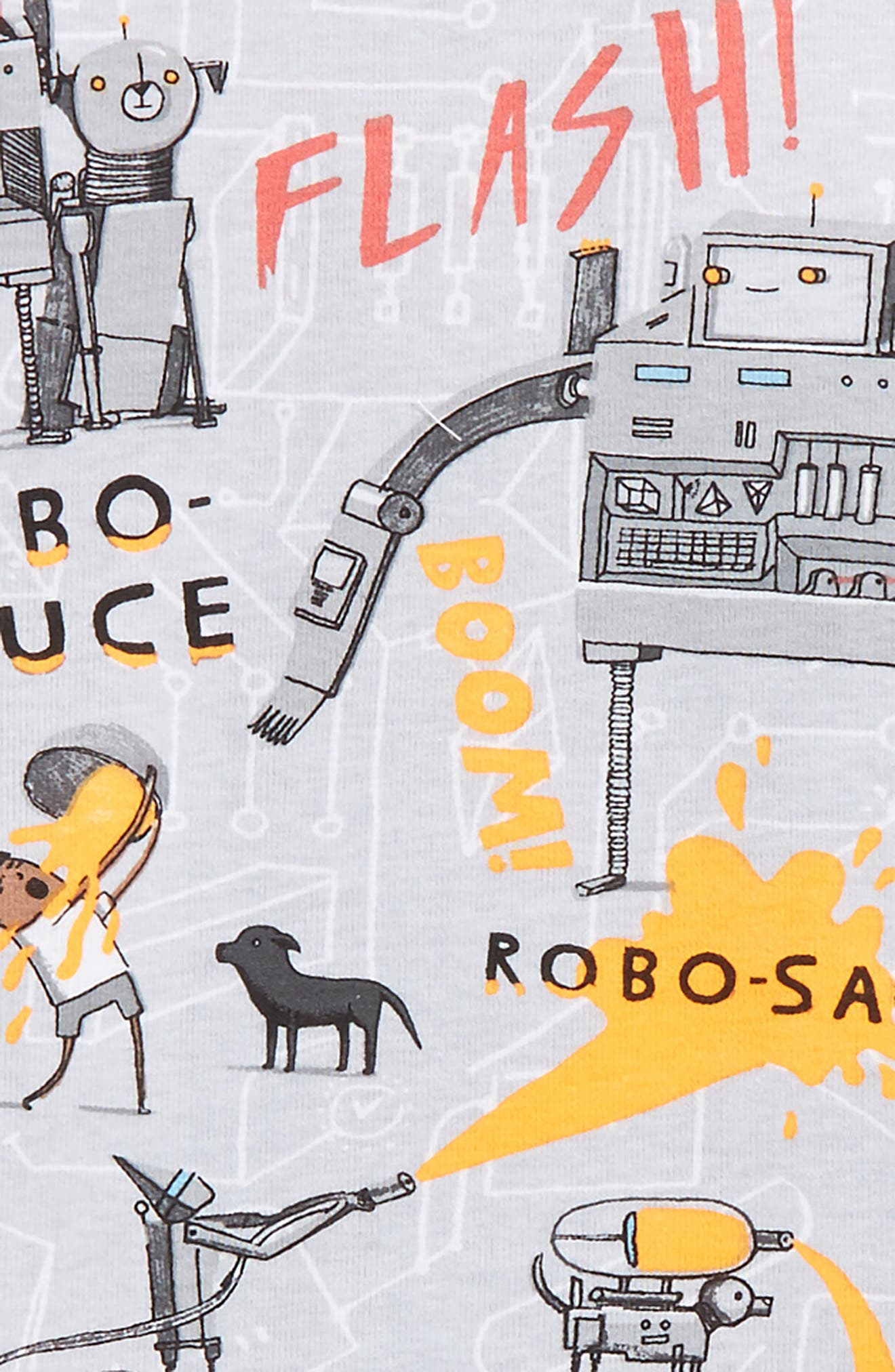 Alternate Image 2  - Books to Bed Robo-Sauce Fitted Two-Piece Pajamas & Book Set (Toddler Boys, Little Boys & Big Boys)
