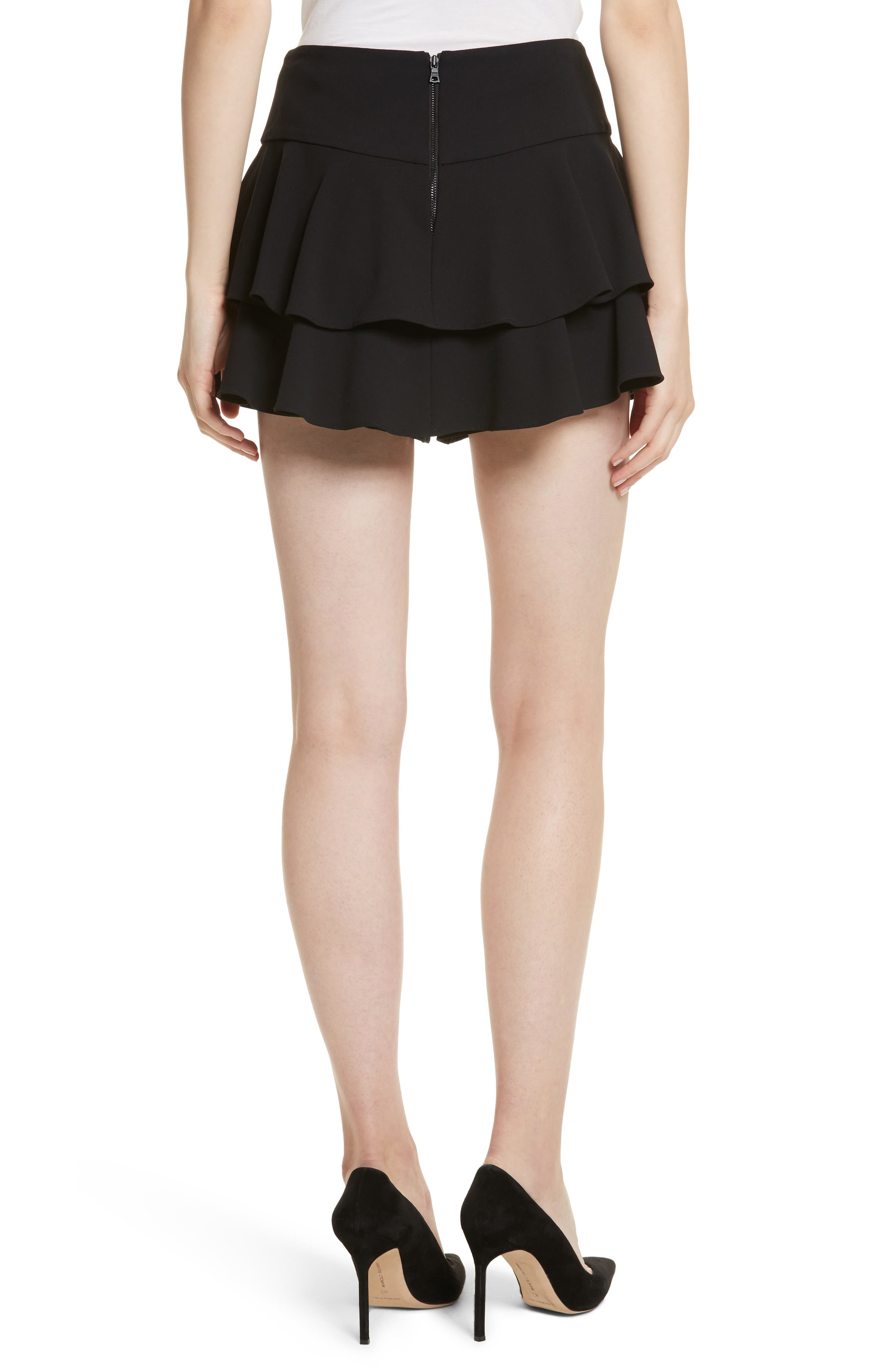 Paloma Ruffle Skort,                             Alternate thumbnail 2, color,                             Black