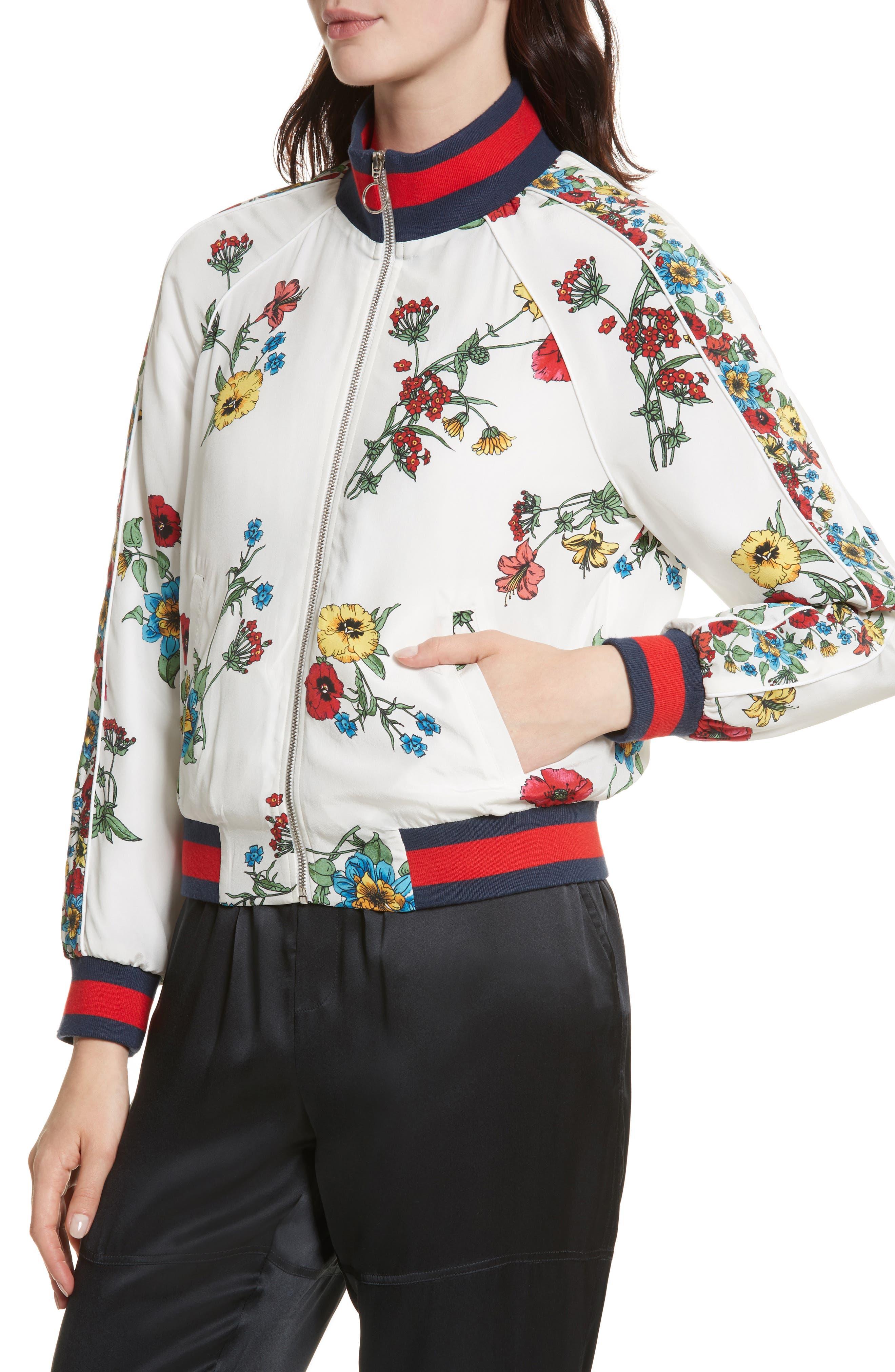 Avariella Silk Bomber Jacket,                             Alternate thumbnail 4, color,                             Porcelain
