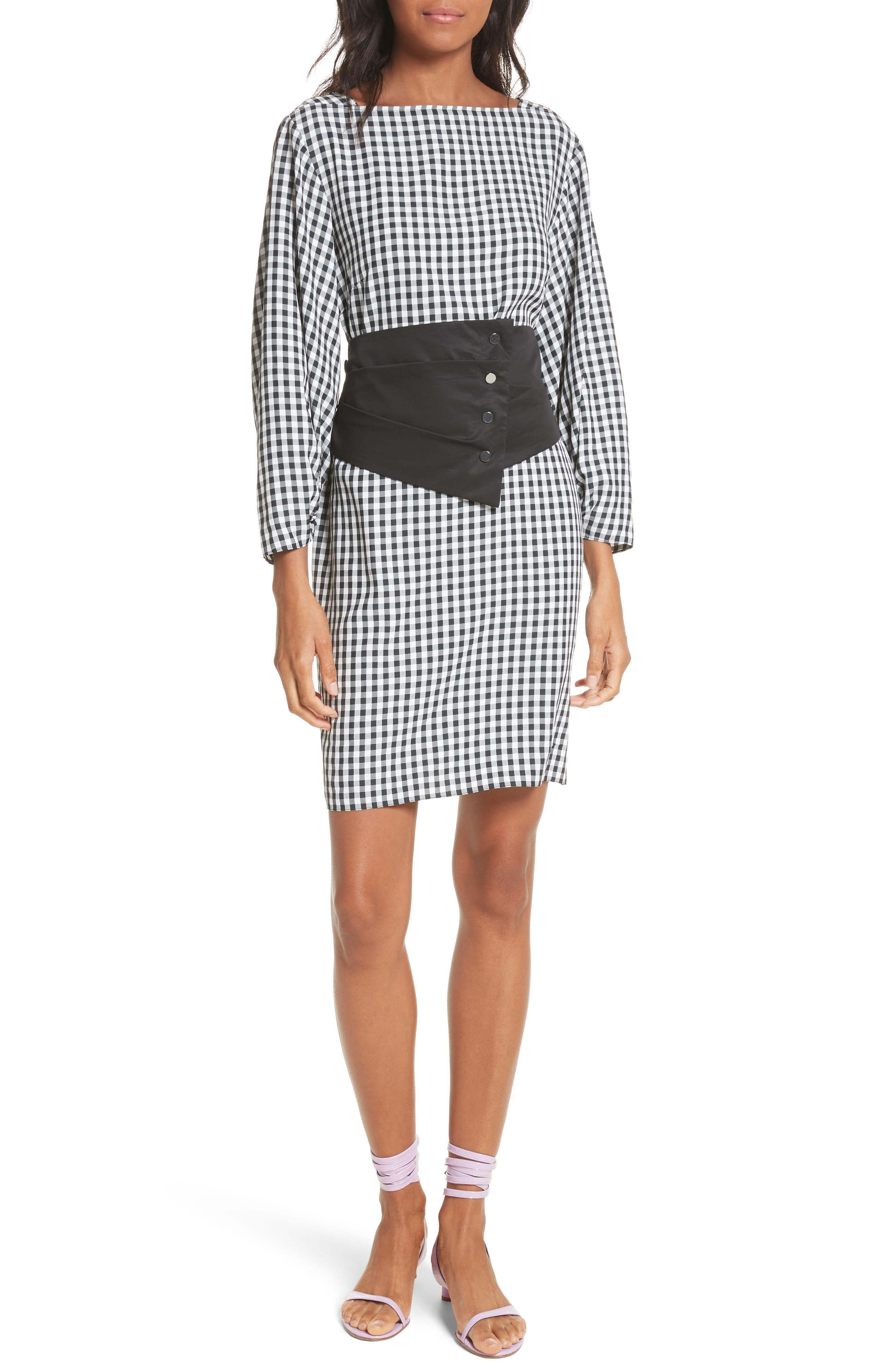 Gingham Corset Dress,                             Main thumbnail 1, color,                             Black Multi
