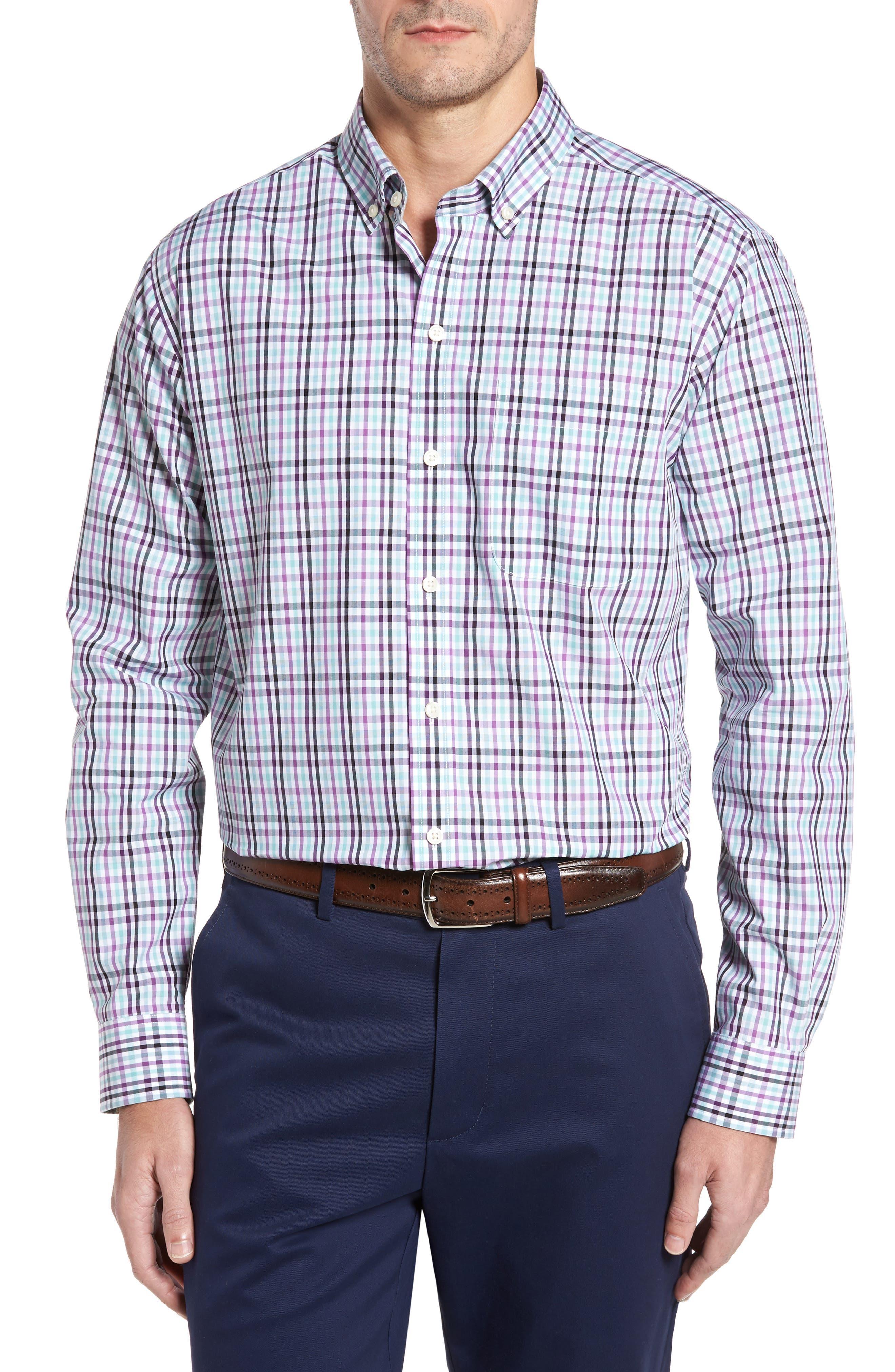 Irving Non-Iron Plaid Sport Shirt,                         Main,                         color, Majesty