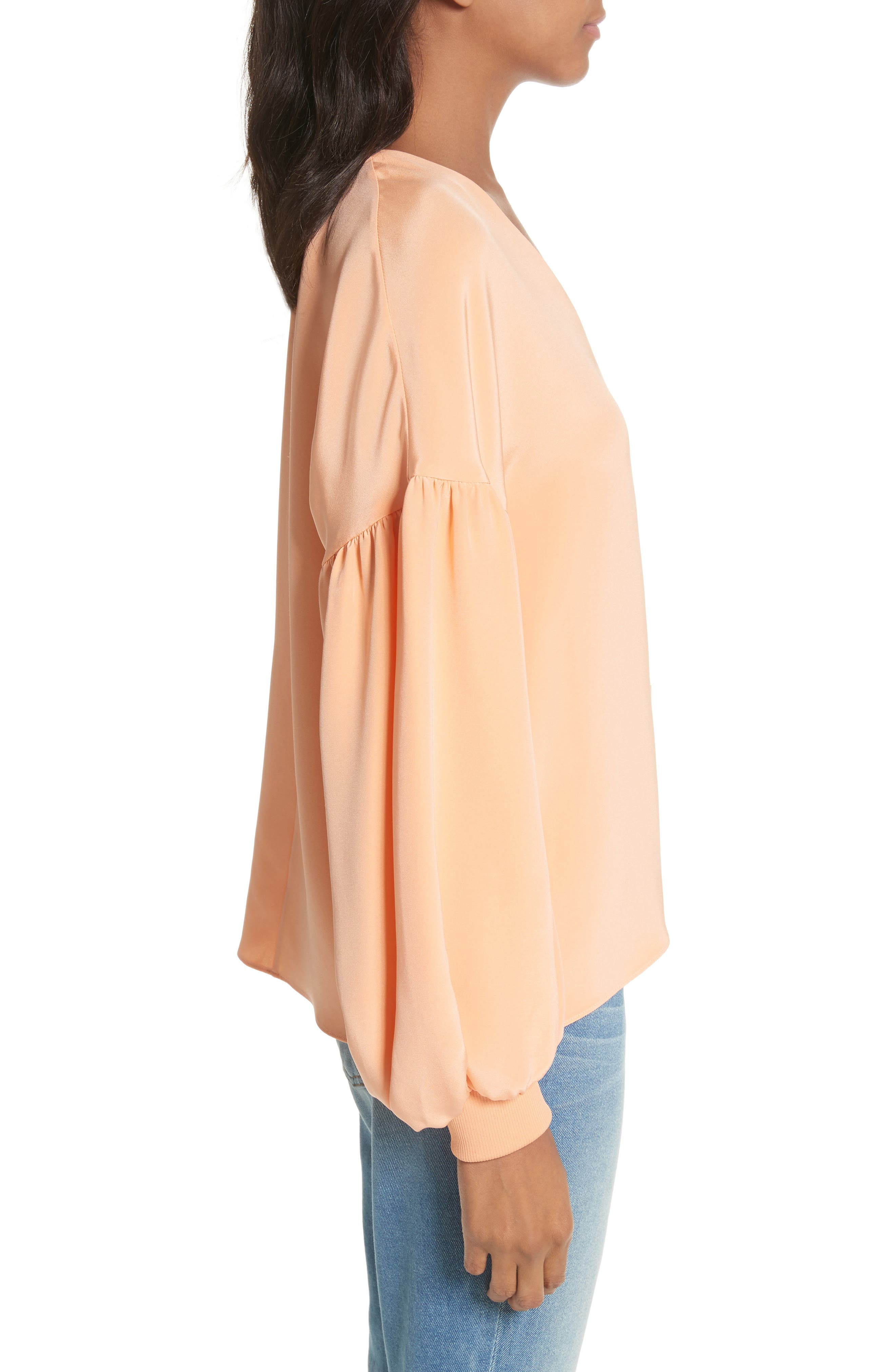 Blouson Sleeve Four-Ply Silk Top,                             Alternate thumbnail 3, color,                             Apricot