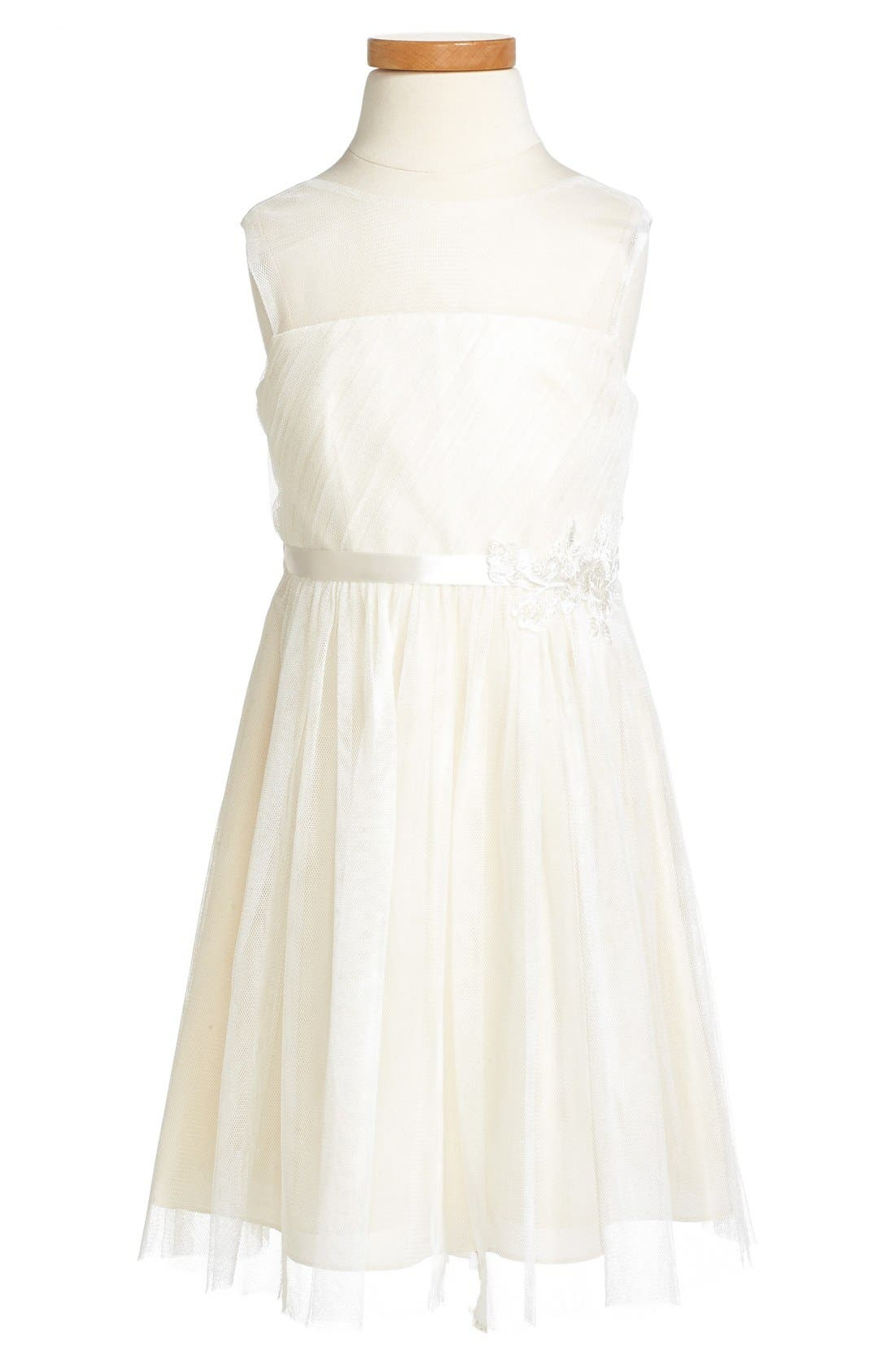 Zoe Floral Appliqué Tulle Dress,                             Alternate thumbnail 3, color,                             Cream