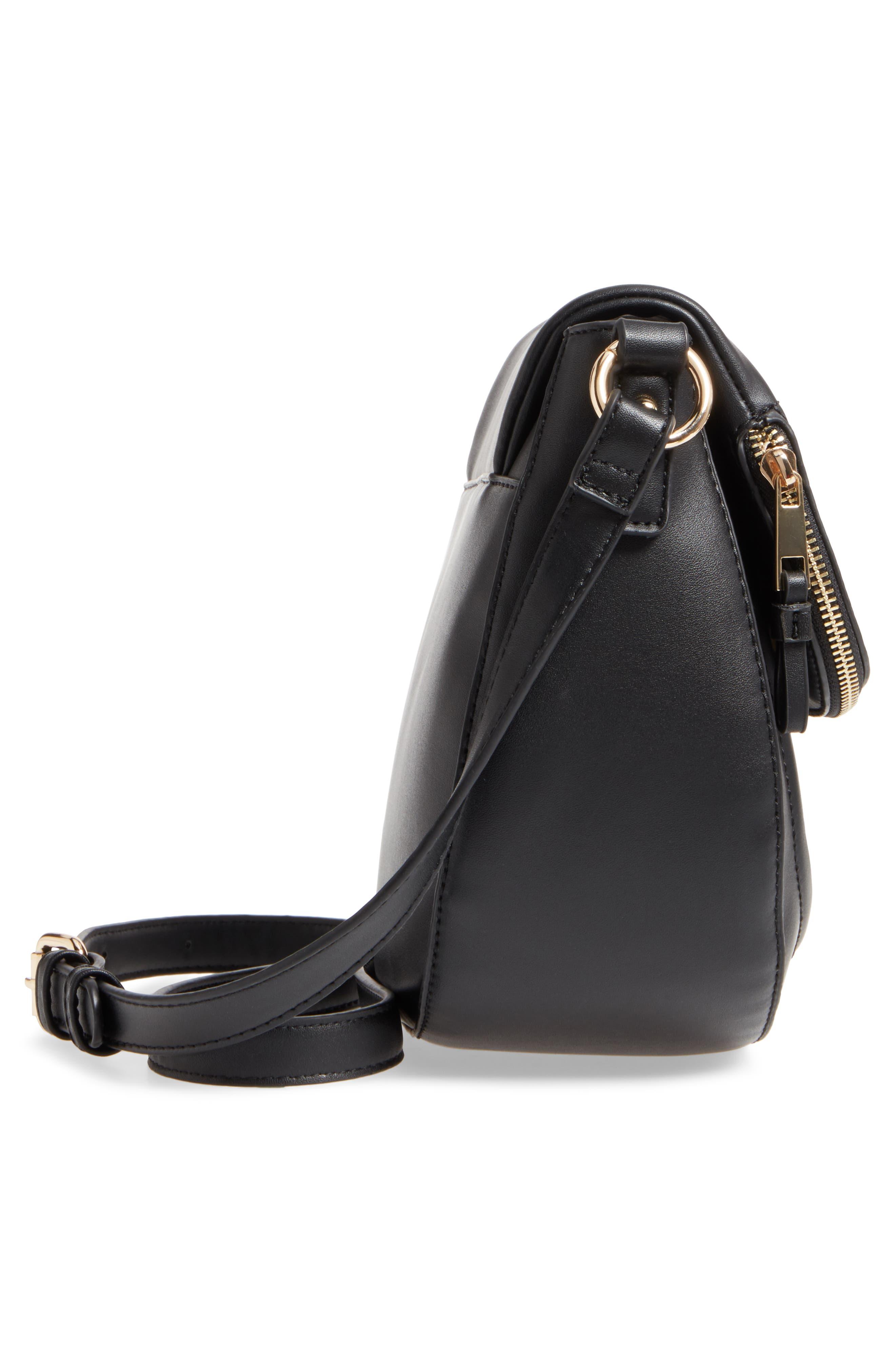 Adden Faux Leather Crossbody Bag,                             Alternate thumbnail 5, color,                             Black