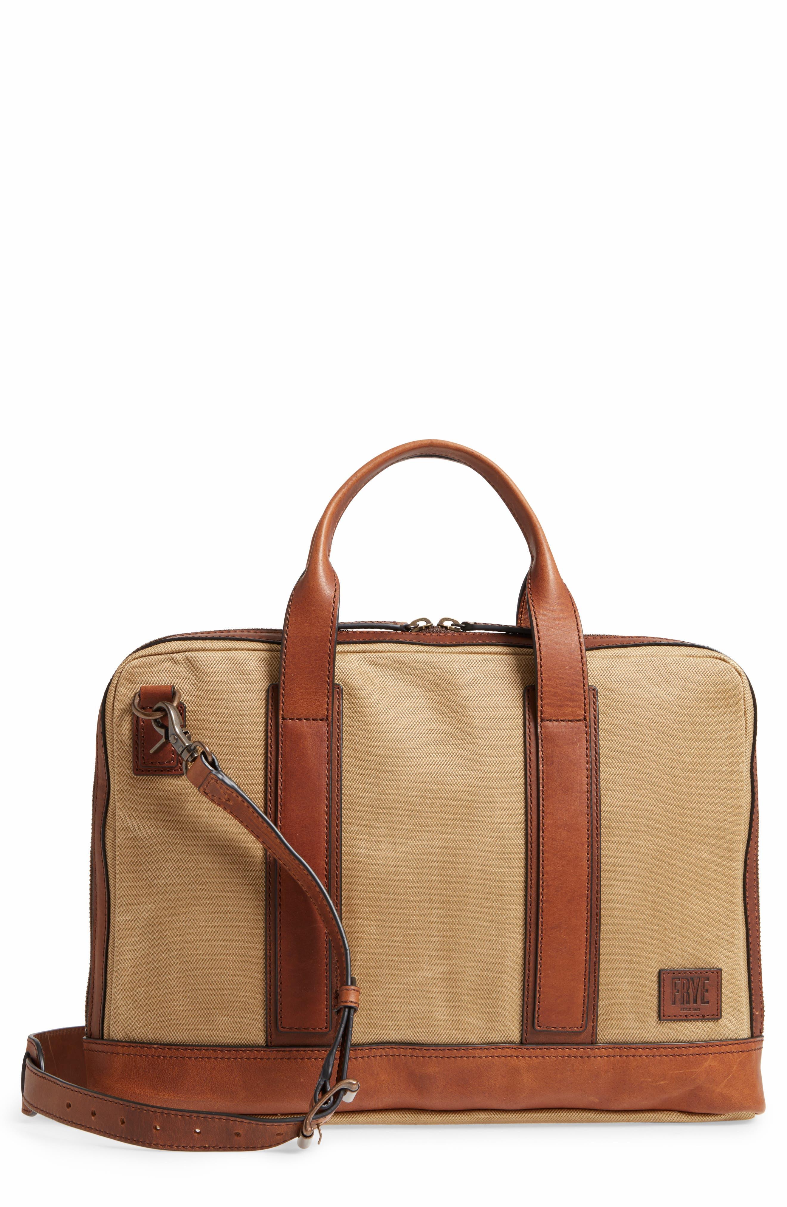 Carter Slim Briefcase,                         Main,                         color, Tan