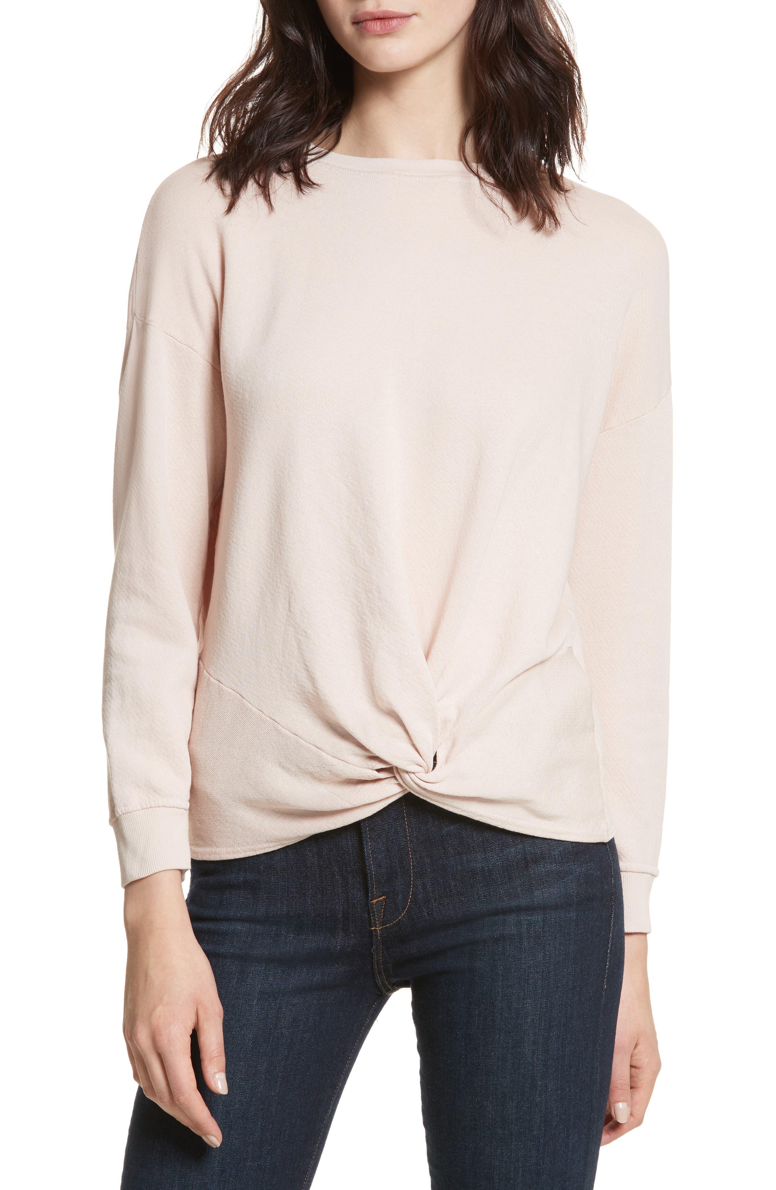 Nazani Twist Front Sweatshirt,                         Main,                         color, Heather Rose