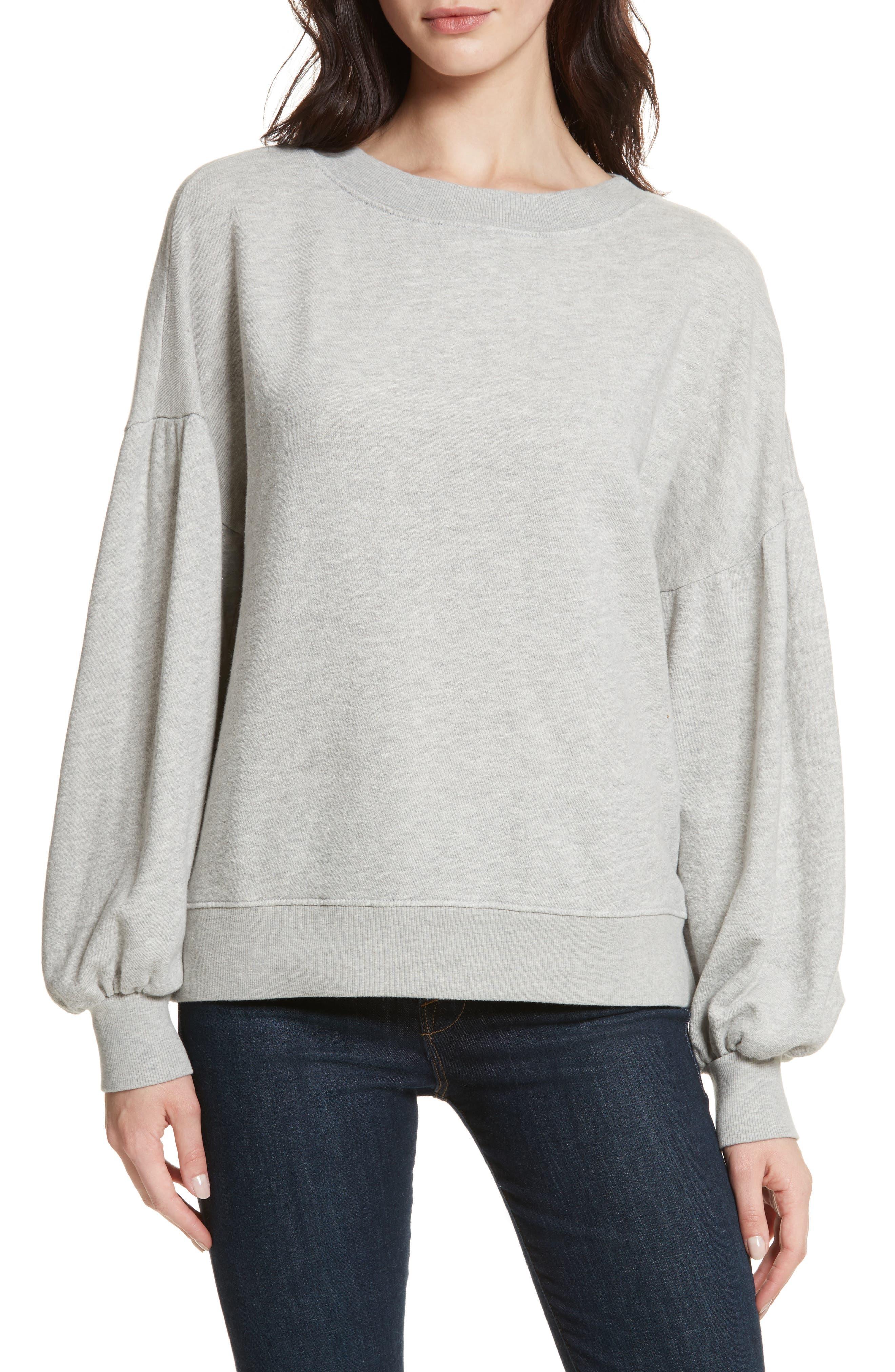 Isae Bishop Sleeve Sweatshirt,                         Main,                         color, Heather Grey