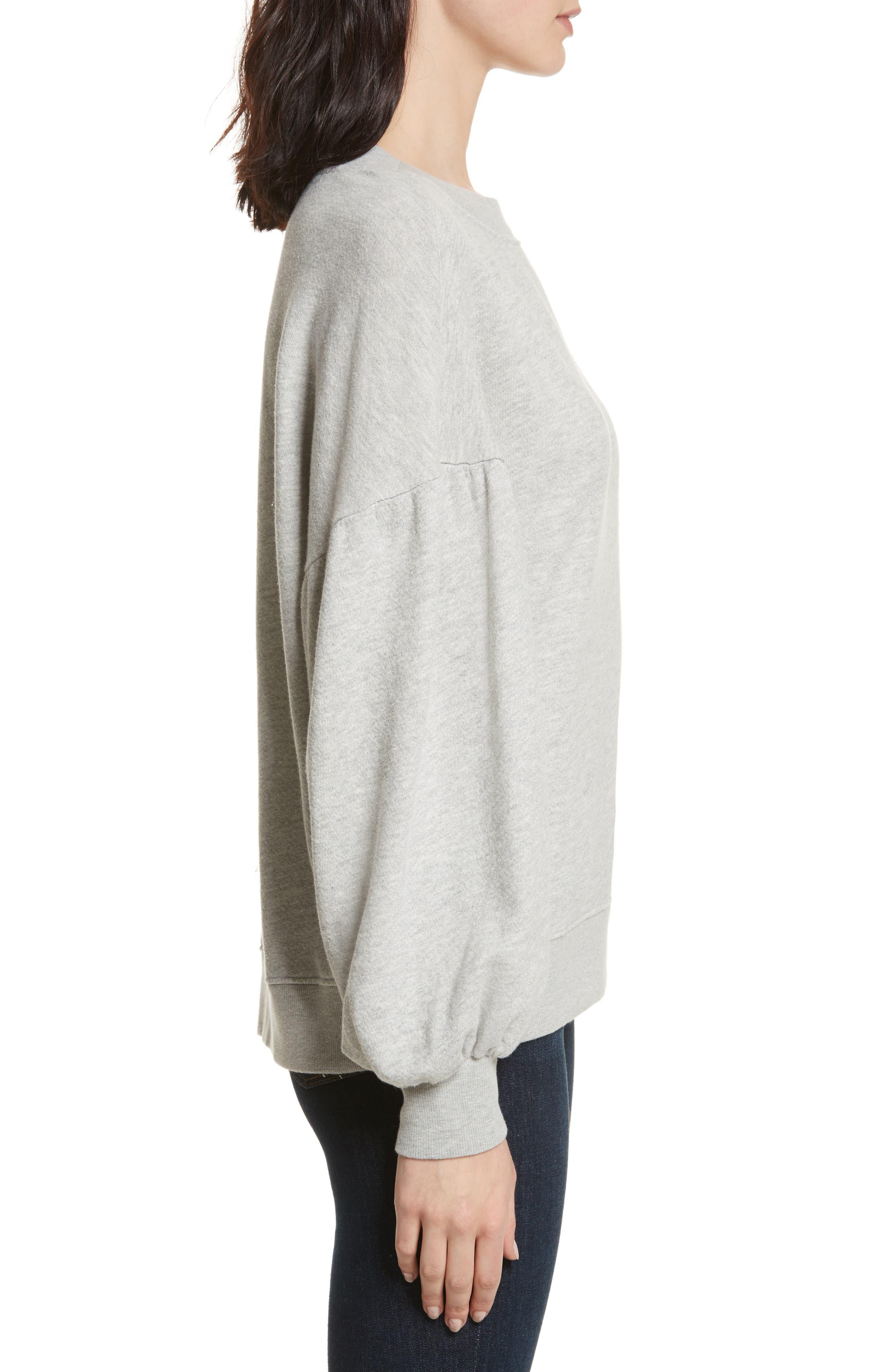 Isae Bishop Sleeve Sweatshirt,                             Alternate thumbnail 3, color,                             Heather Grey