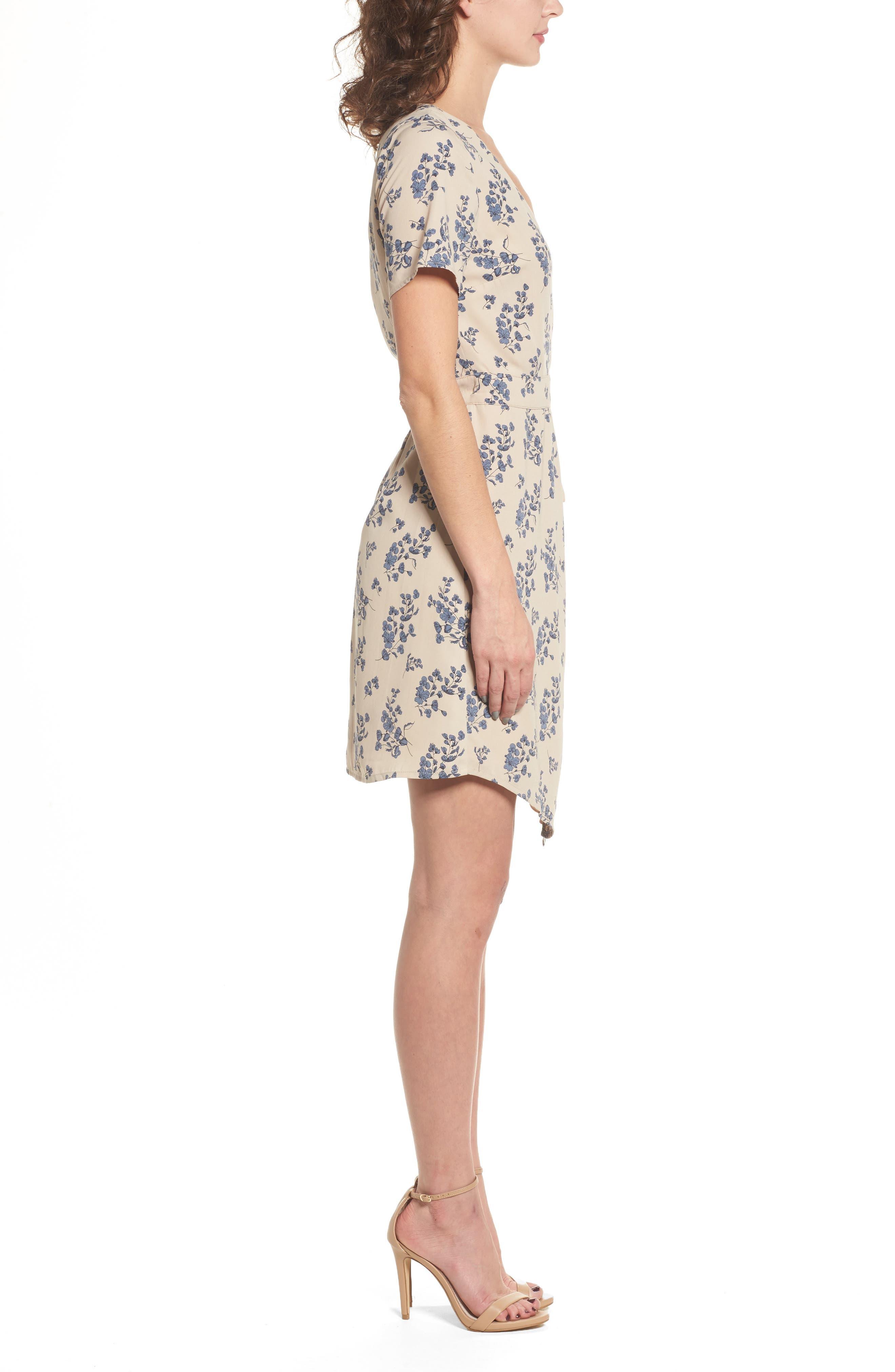 Floral Print Wrap Dress,                             Alternate thumbnail 3, color,                             Taupe Floral